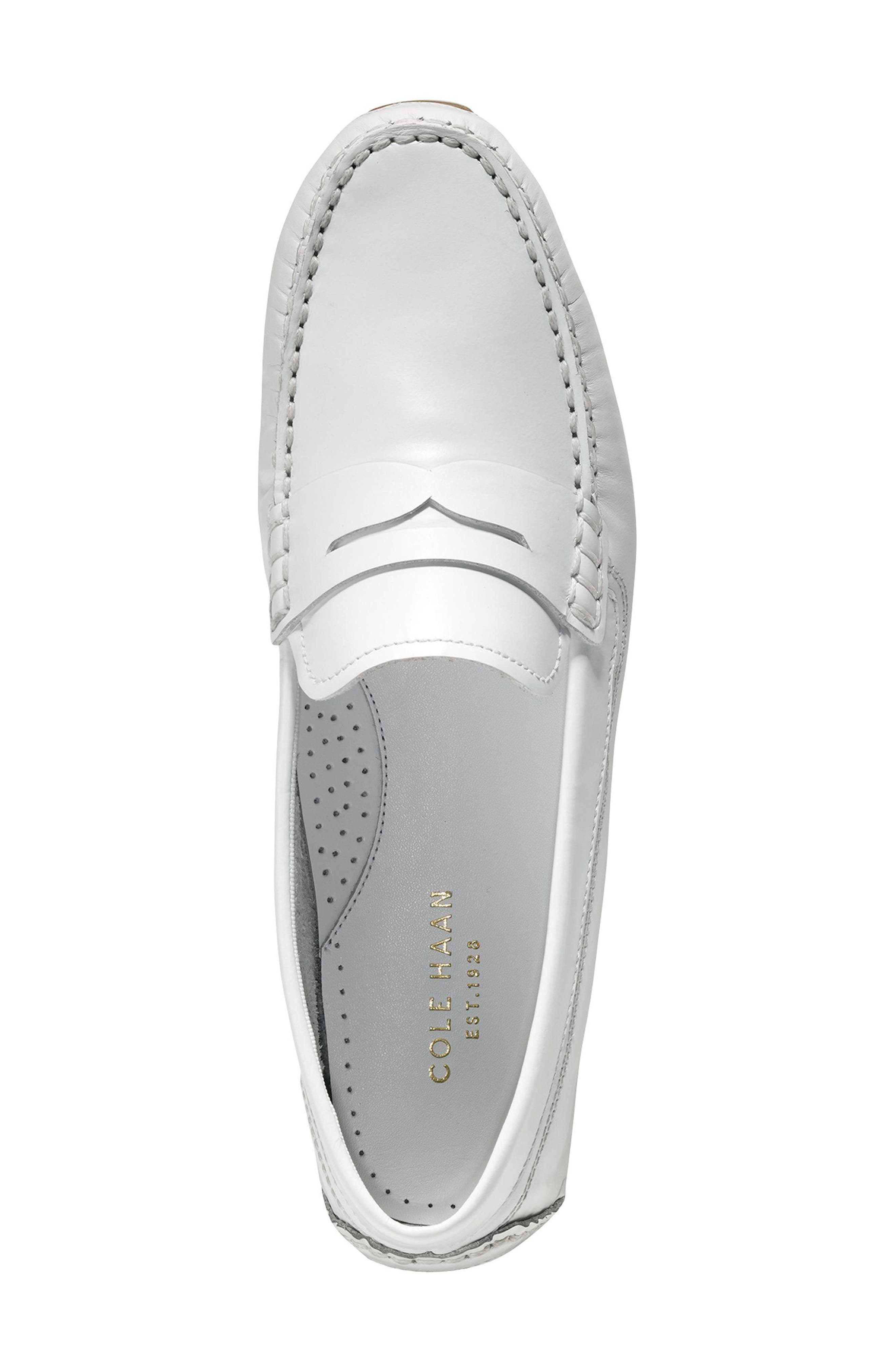 Rodeo Penny Driving Loafer,                             Alternate thumbnail 3, color,                             Optic White Leather