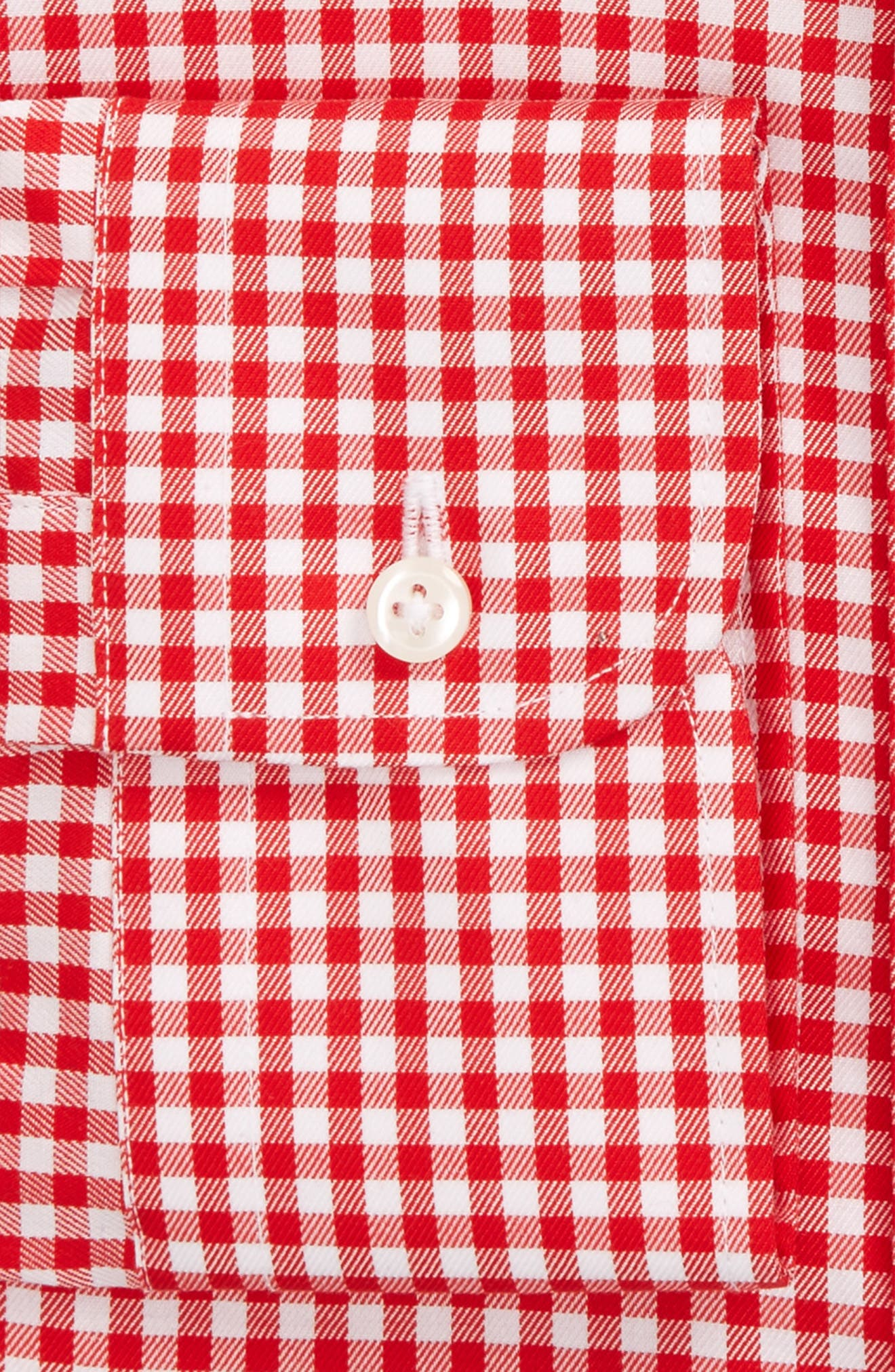 Traditional Fit Non-Iron Gingham Dress Shirt,                             Alternate thumbnail 3, color,                             Red Blaze