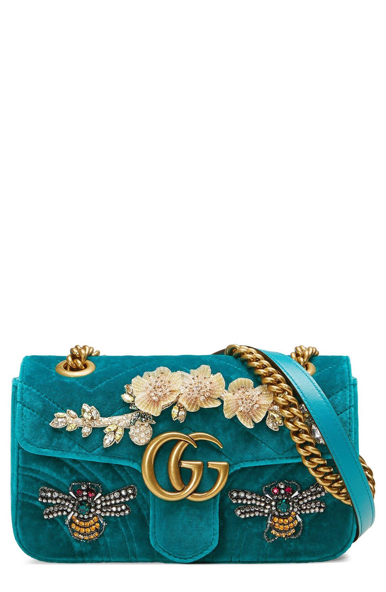 Mini GG Marmont Matelassé Velvet Shoulder Bag,                             Main thumbnail 1, color,                             Pivone