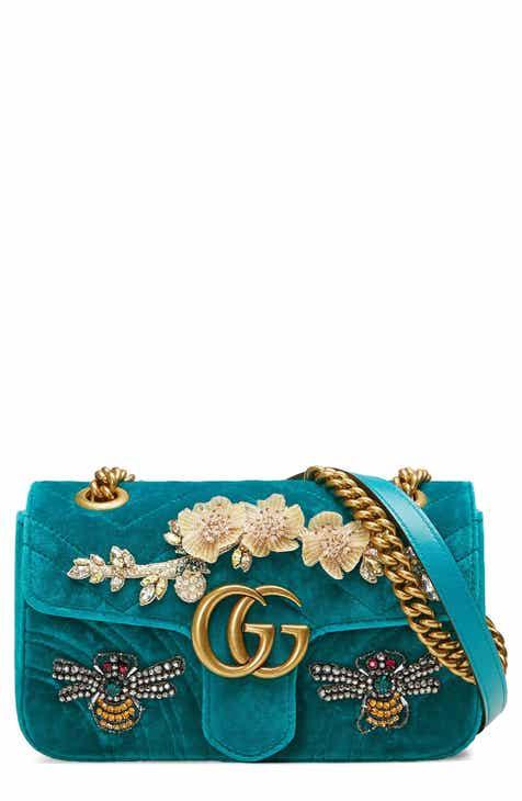 a4850bf6f3b1 Gucci Mini GG Marmont Matelassé Velvet Shoulder Bag