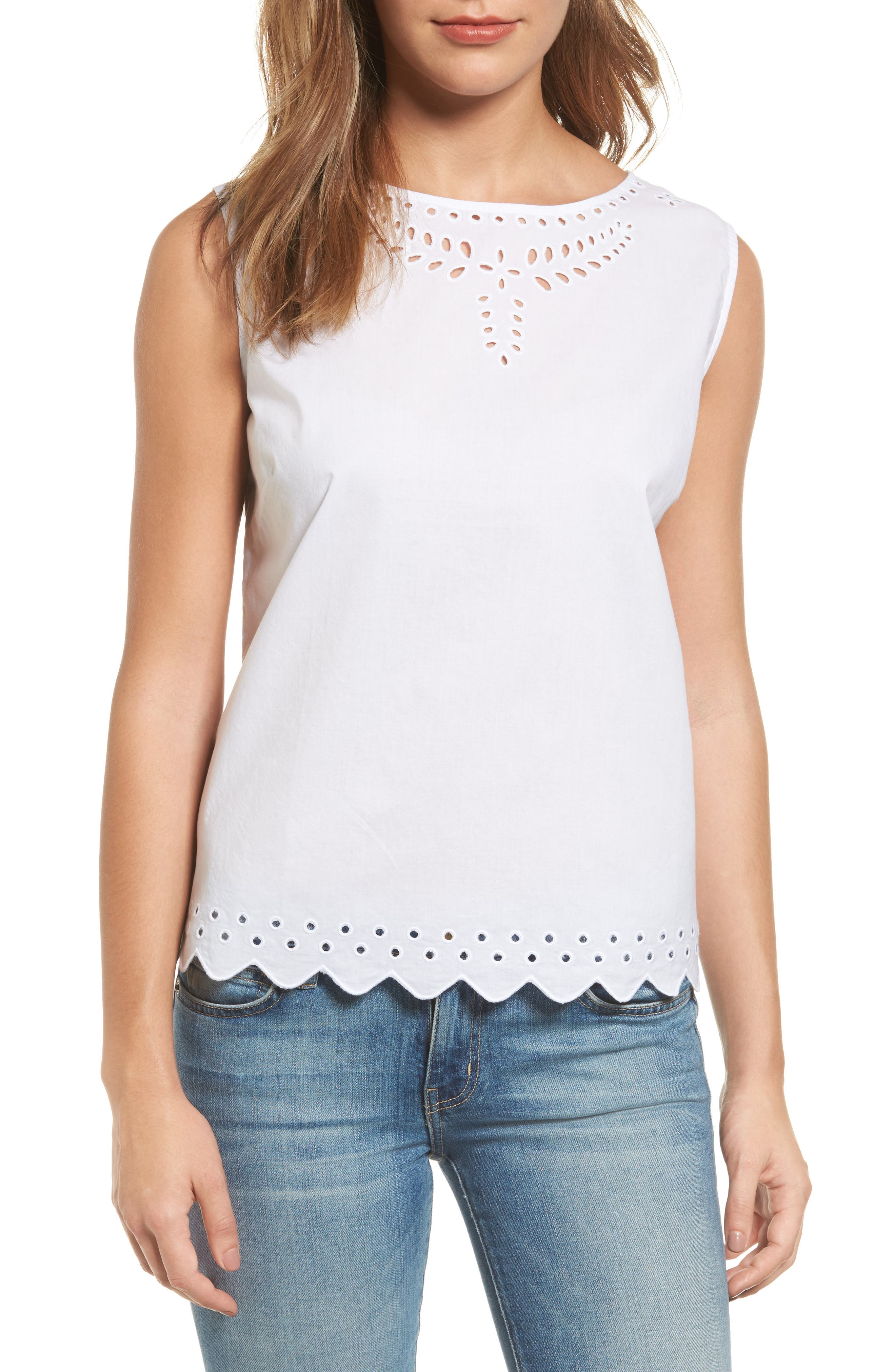 Cotton Eyelet Top,                         Main,                         color, White