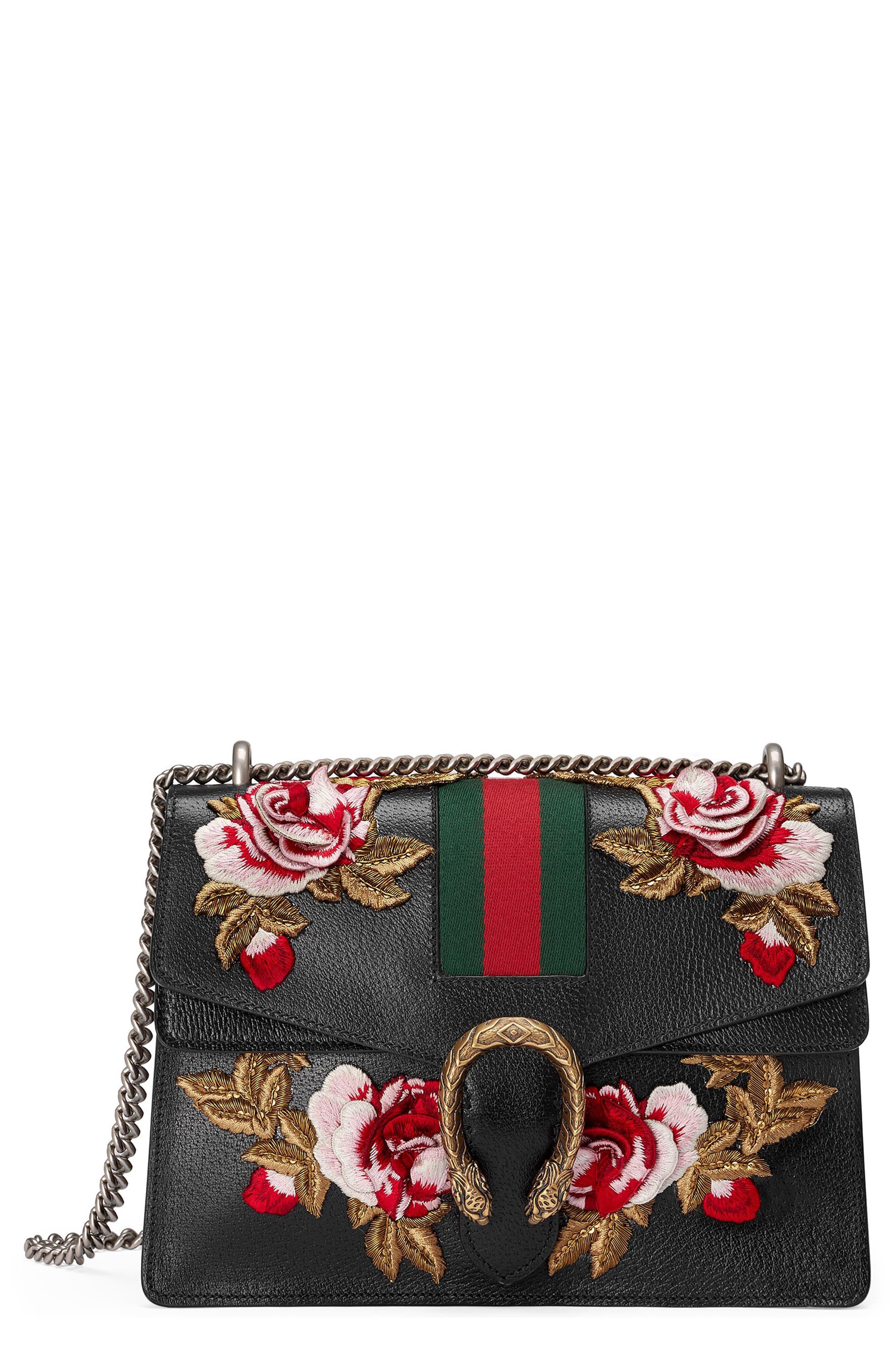 Medium Dionysus Embroidered Roses Leather Shoulder Bag,                             Main thumbnail 1, color,                             Nero/Multi
