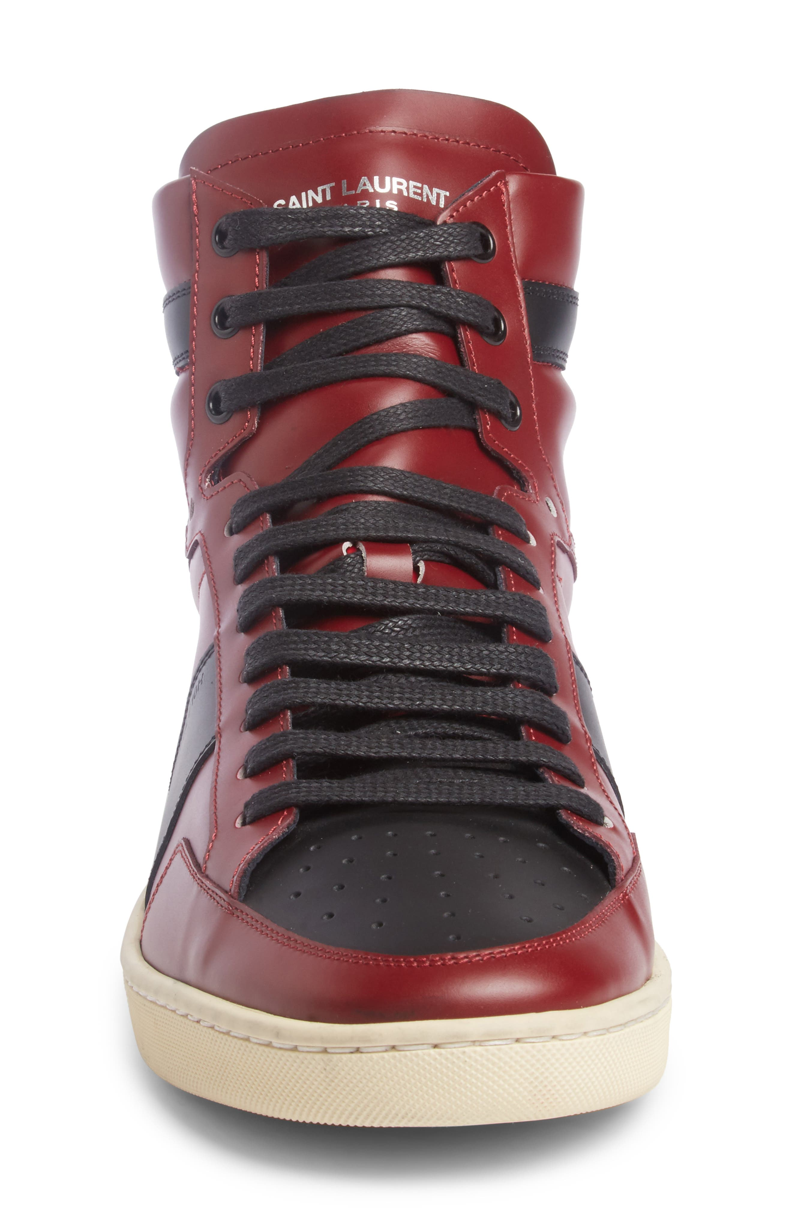 SL/10H Signature Court Classic High-Top Sneaker,                             Alternate thumbnail 4, color,                             Dp Red/ Blk Leather