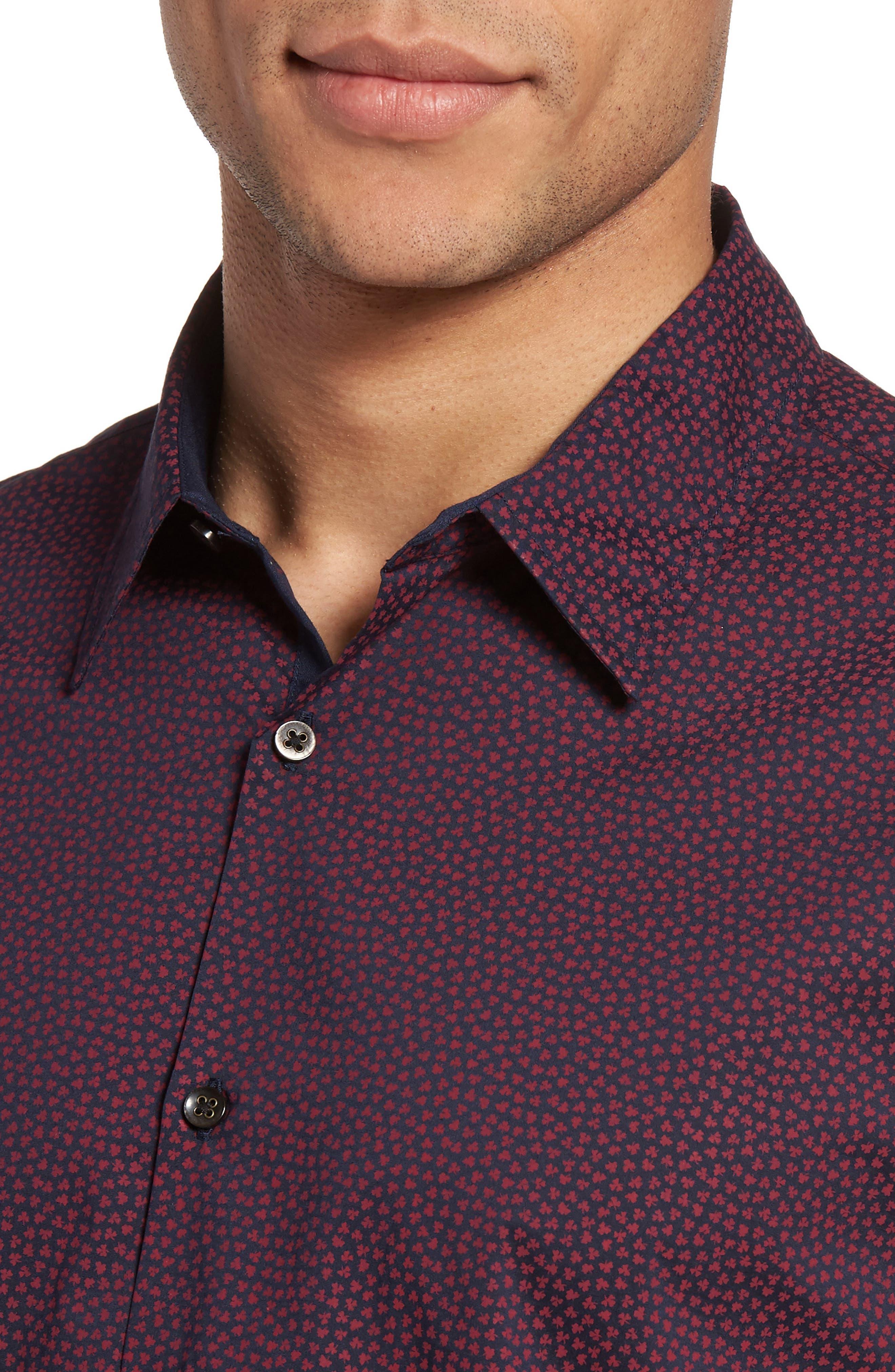 Trim Fit Print Sport Shirt,                             Alternate thumbnail 4, color,                             Cherry