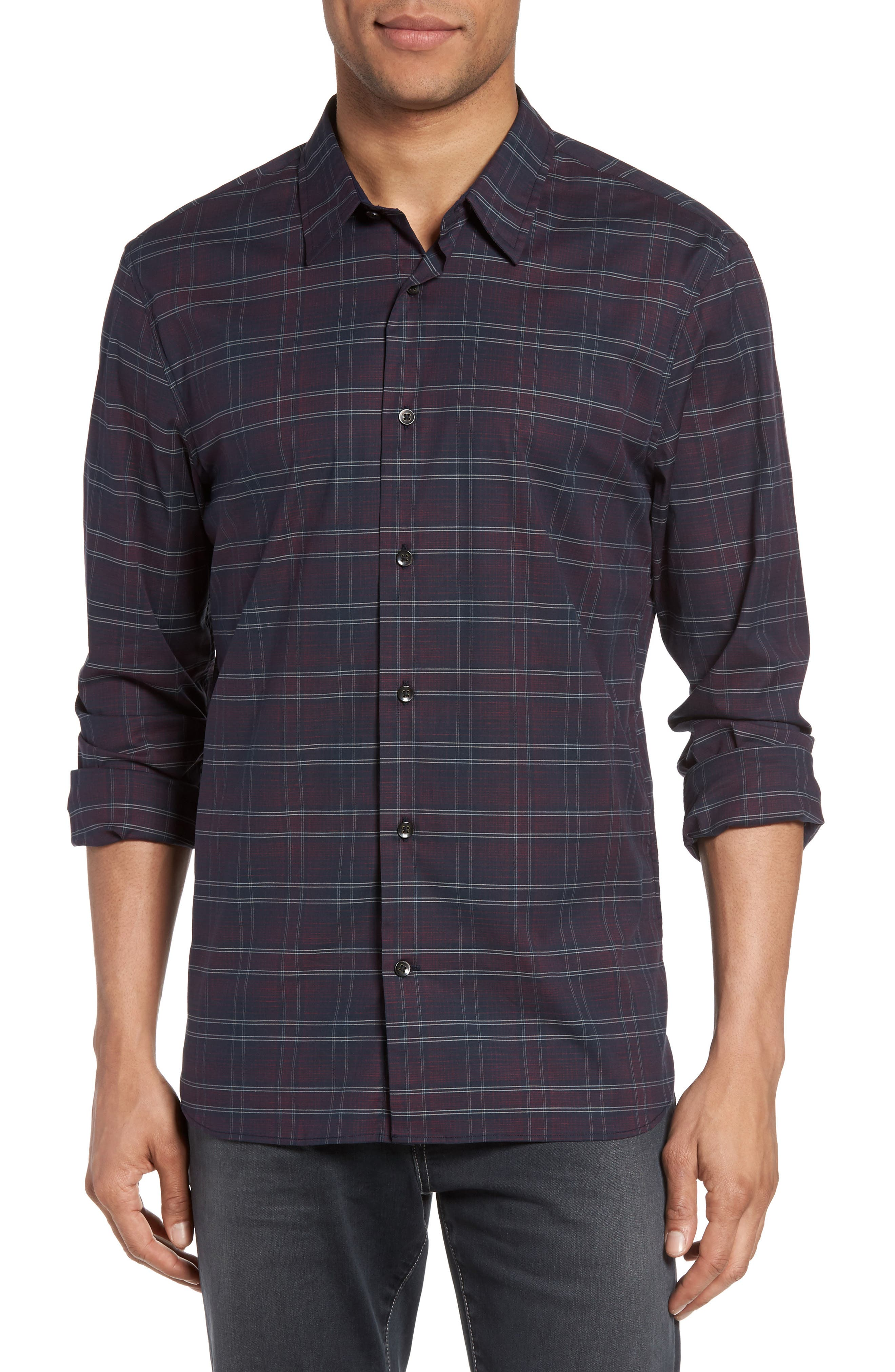 John Varvatos Star USA Trim Fit Check Sport Shirt