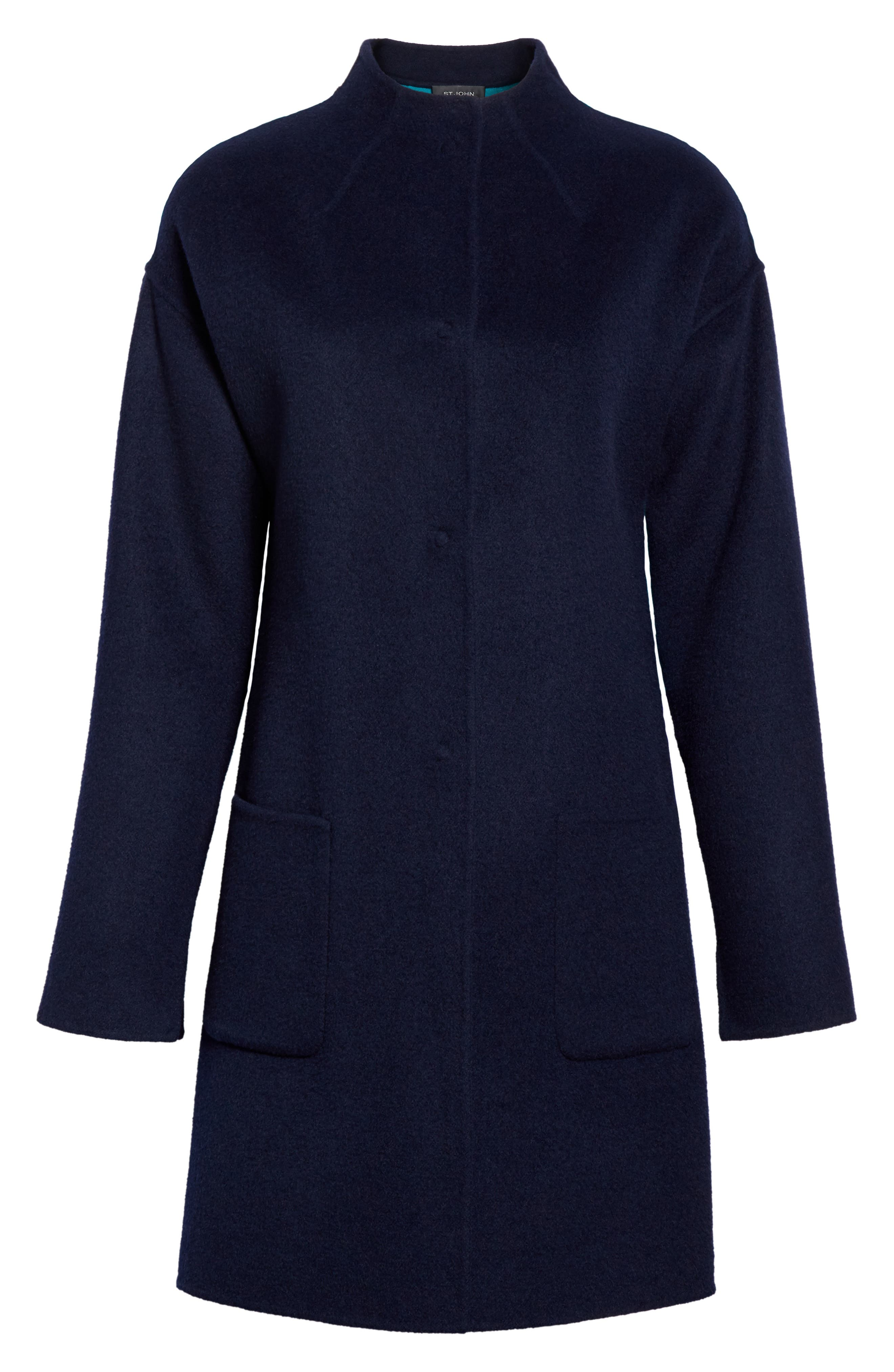 Alternate Image 7  - St. John Collection Colorblock Double Face Wool Blend Coat