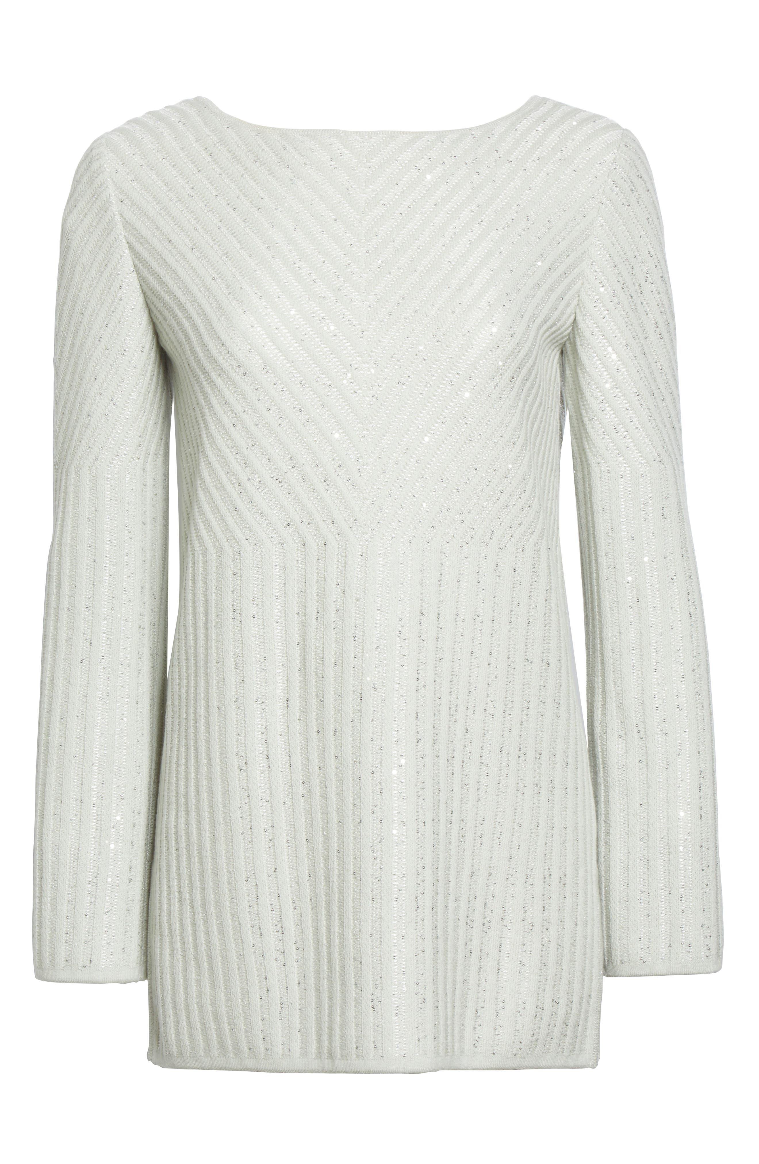 Sparkle Engineered Rib Sweater,                             Alternate thumbnail 7, color,                             Jasmine