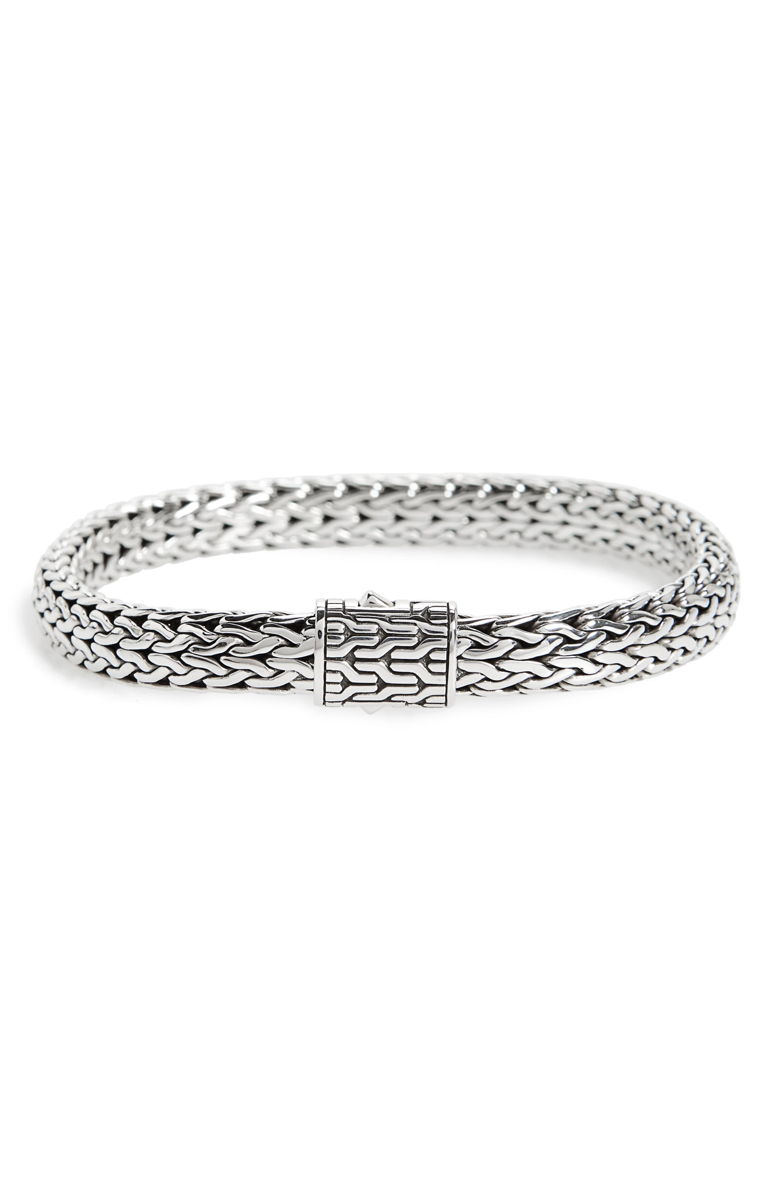 Classic Chain Medium Flat Chain Bracelet,                             Main thumbnail 1, color,                             Silver