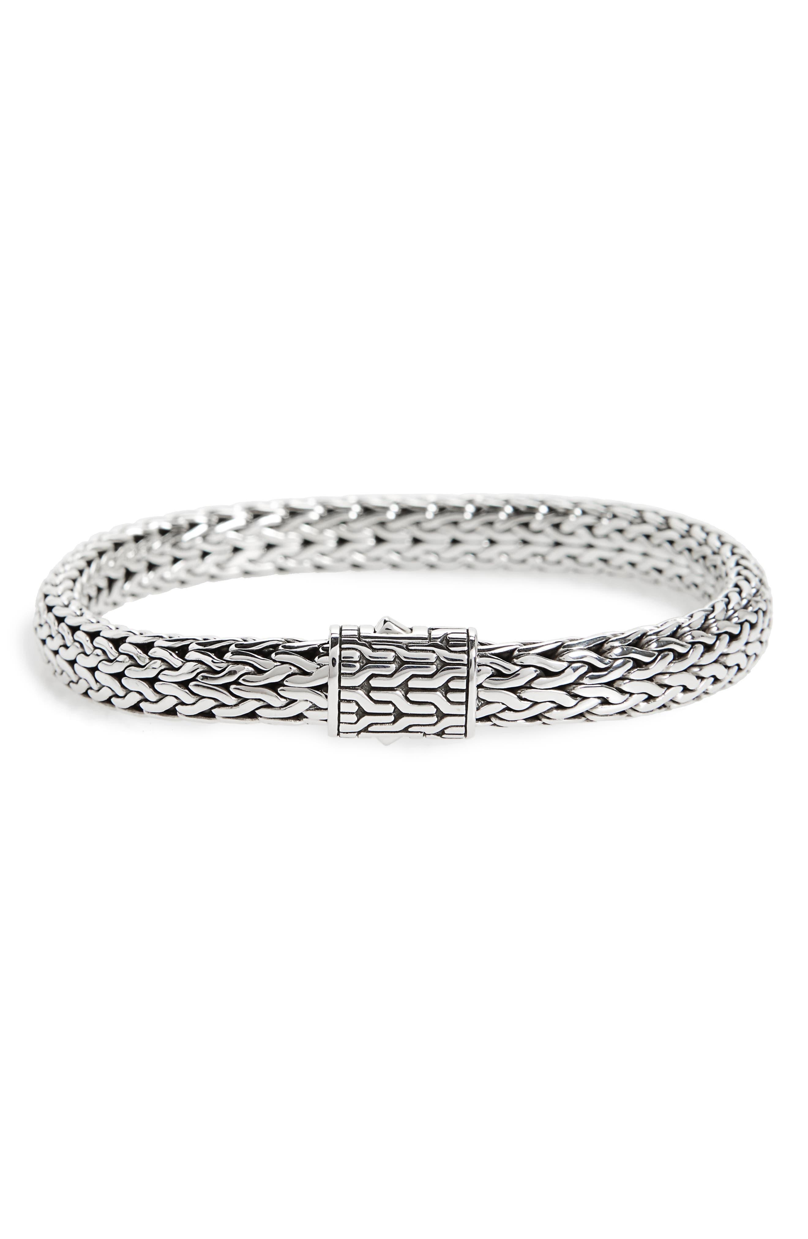 Classic Chain Medium Flat Chain Bracelet,                         Main,                         color, Silver