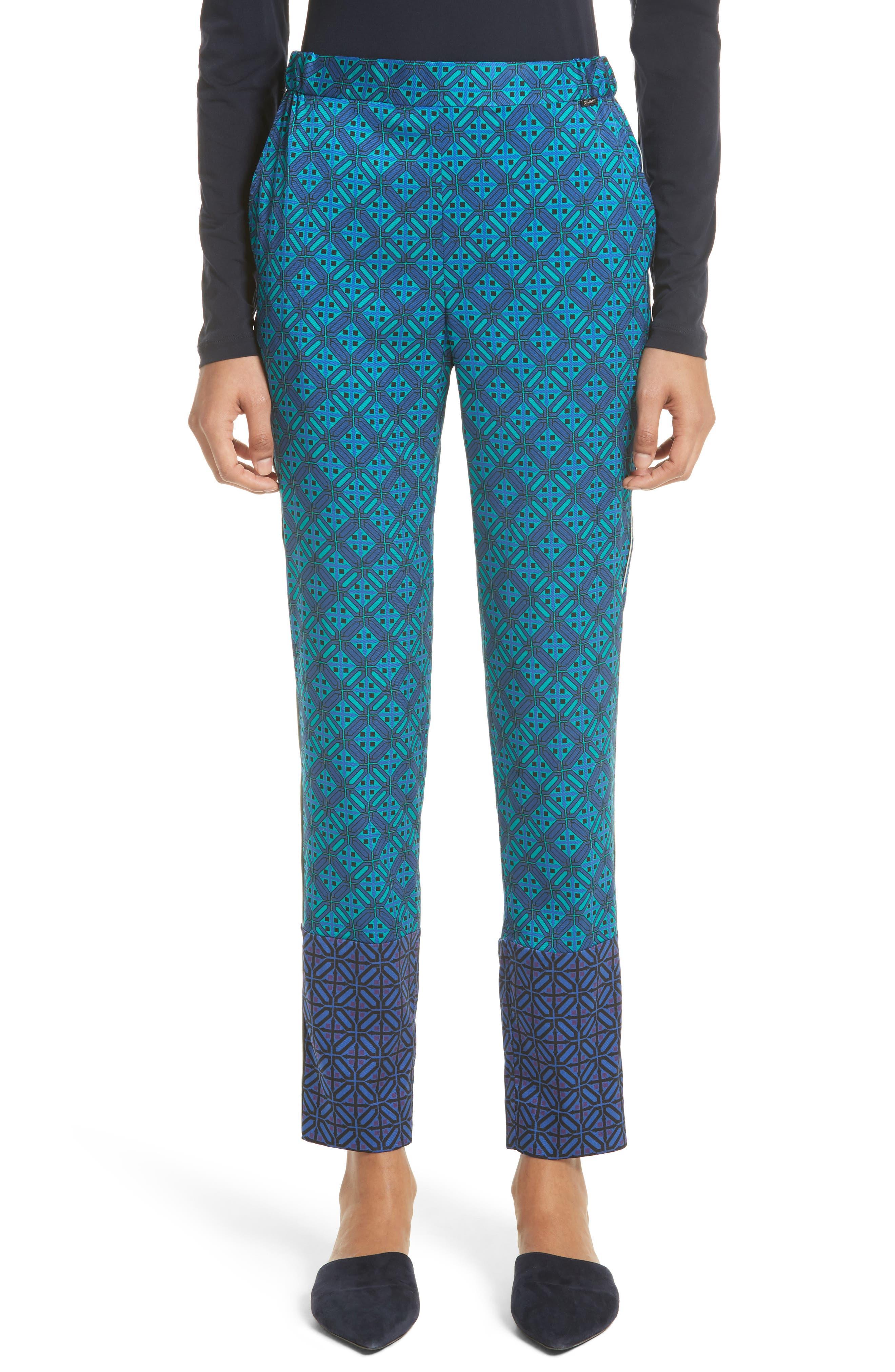 Ratan Print Stretch Silk Twill Pants,                             Main thumbnail 1, color,                             Azurite Multi