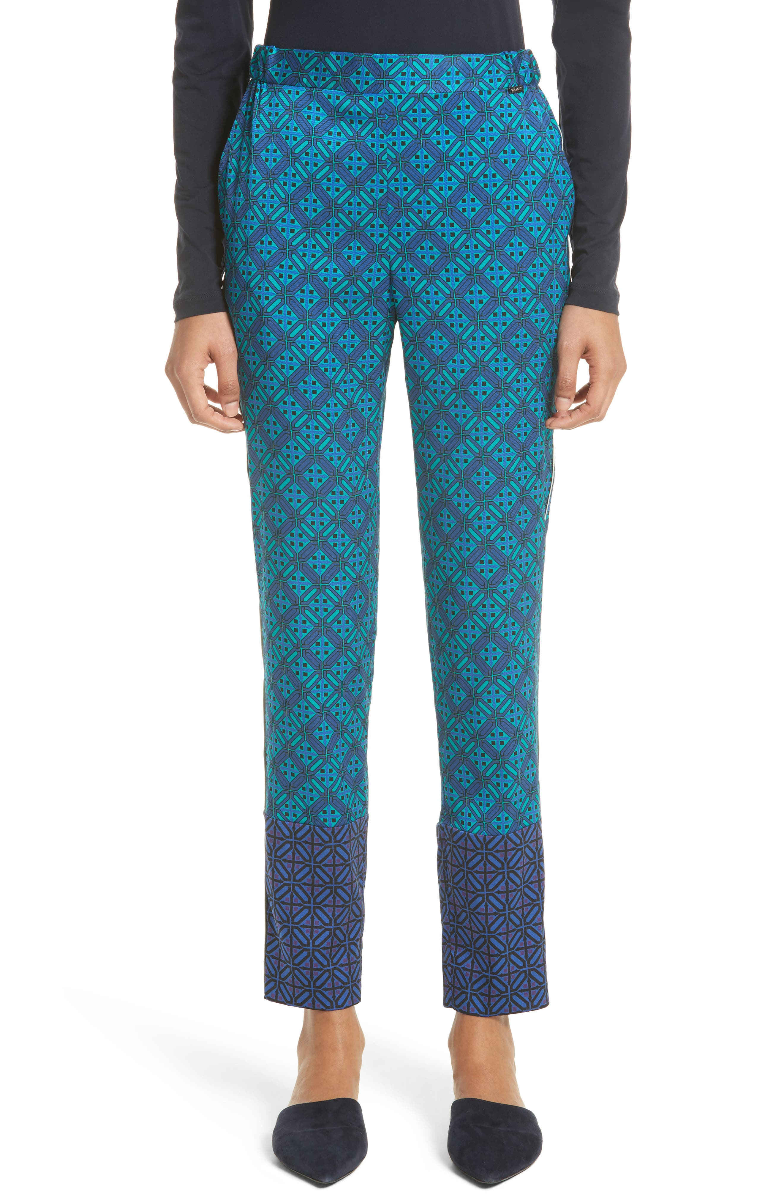 Ratan Print Stretch Silk Twill Pants,                         Main,                         color, Azurite Multi