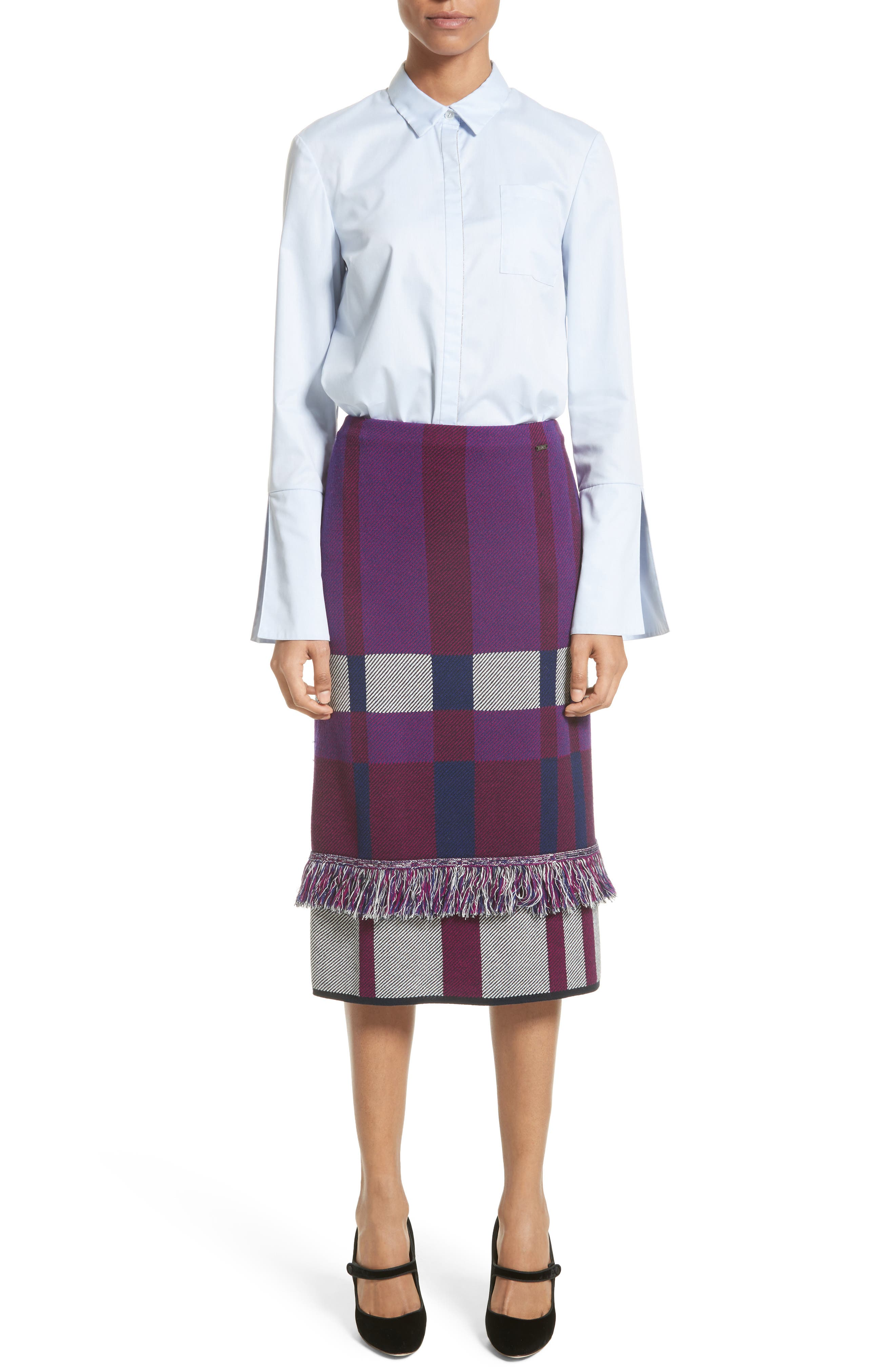 Alternate Image 7  - St. John Collection Bell Sleeve High/Low Oxford Shirt