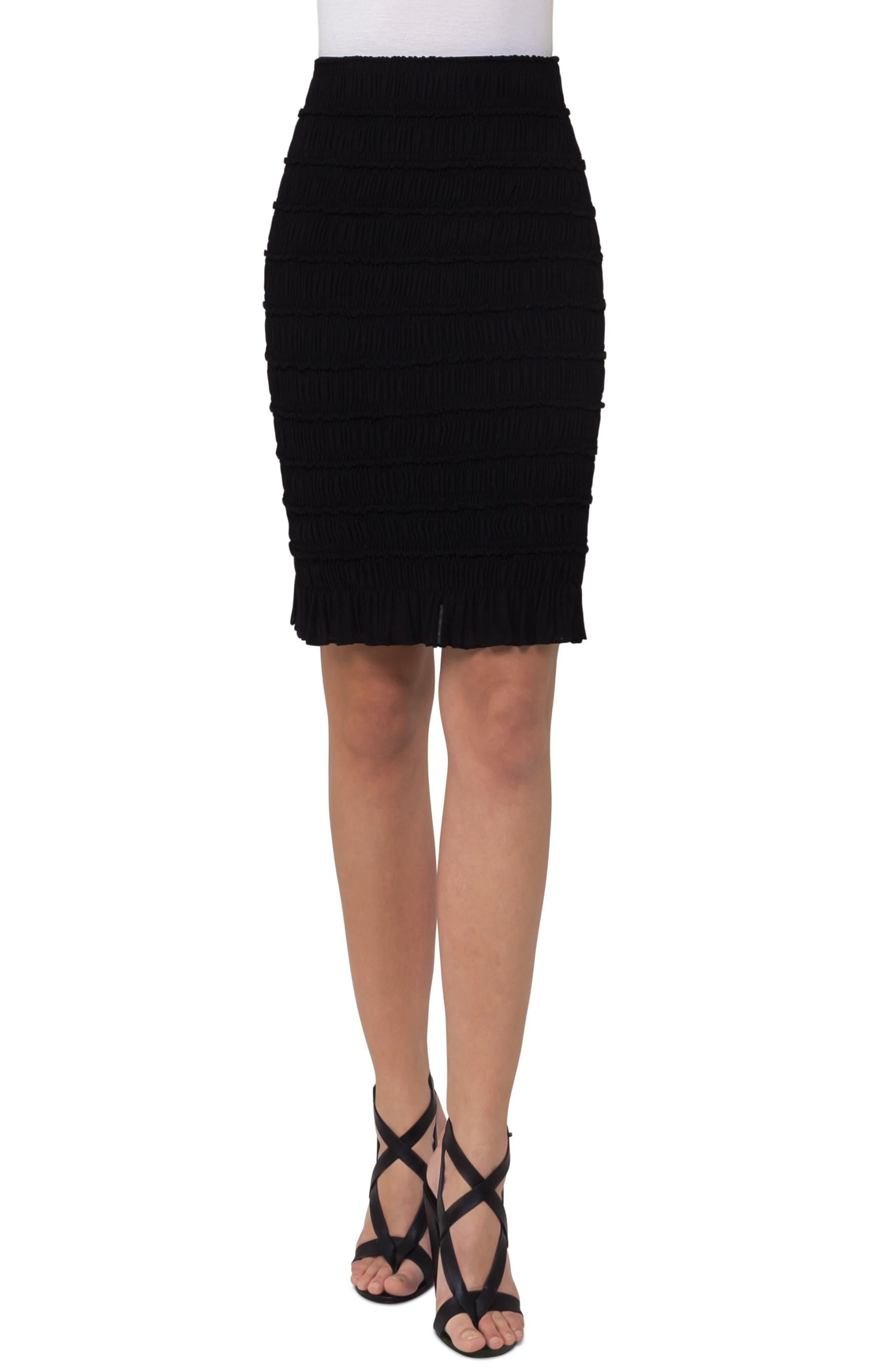 Smocked Wool Pencil Skirt,                             Main thumbnail 1, color,                             Black