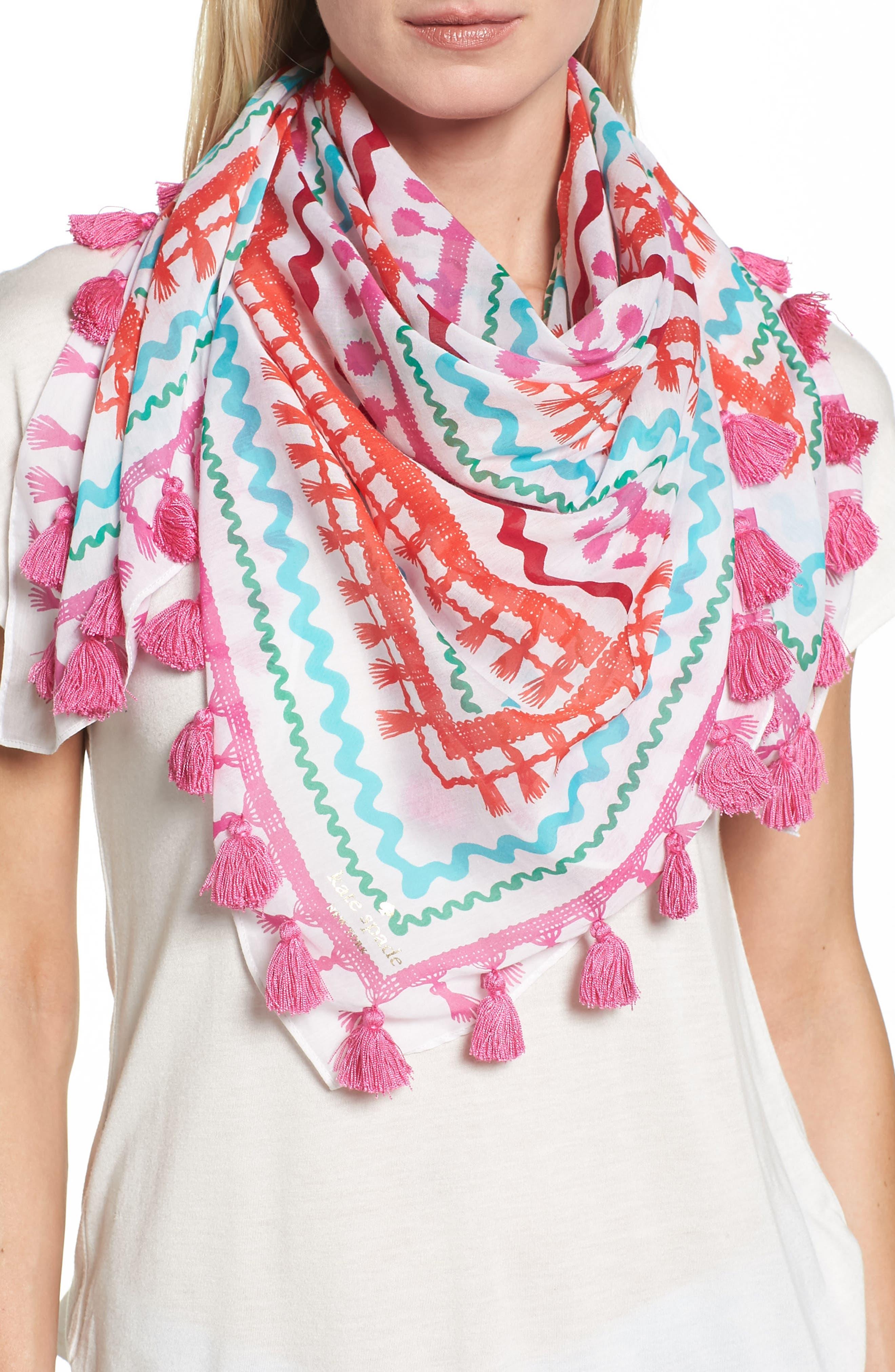 Alternate Image 1 Selected - kate spade new york rickrack square scarf