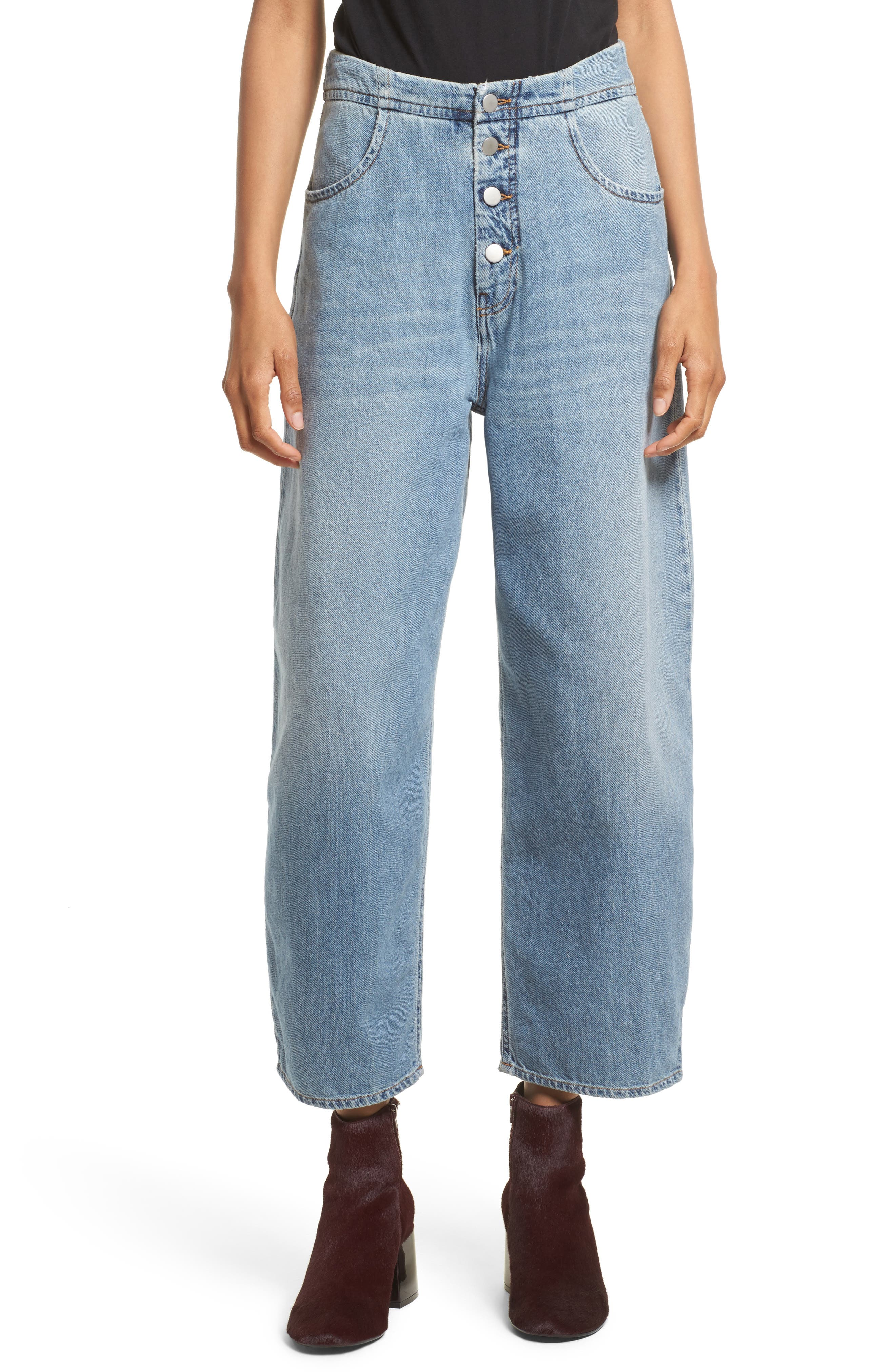 Relaxed Fit Crop Jeans,                         Main,                         color, Vintage Wash
