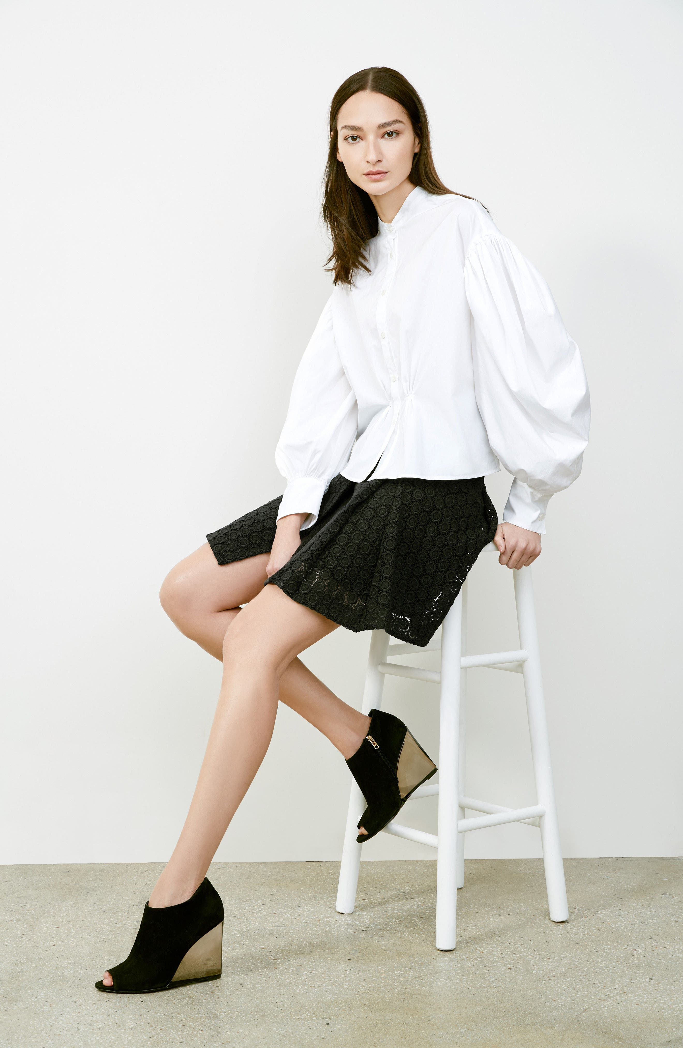 Alternate Image 7  - Burberry Howe Mixed Lace Pleated Wrap Skirt