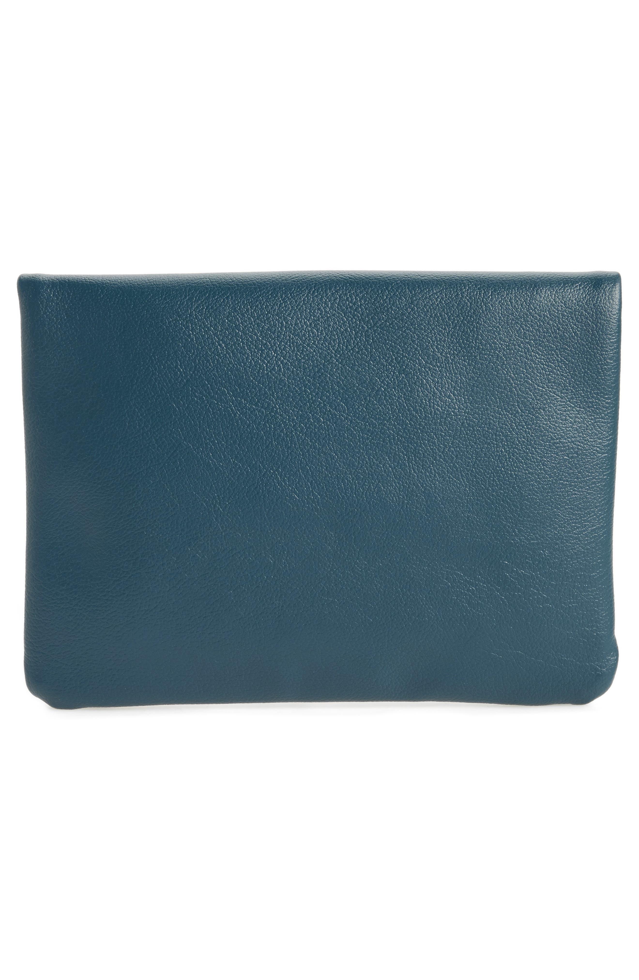 Craig Medium Faux Leather Clutch,                             Alternate thumbnail 3, color,                             Dark Blue