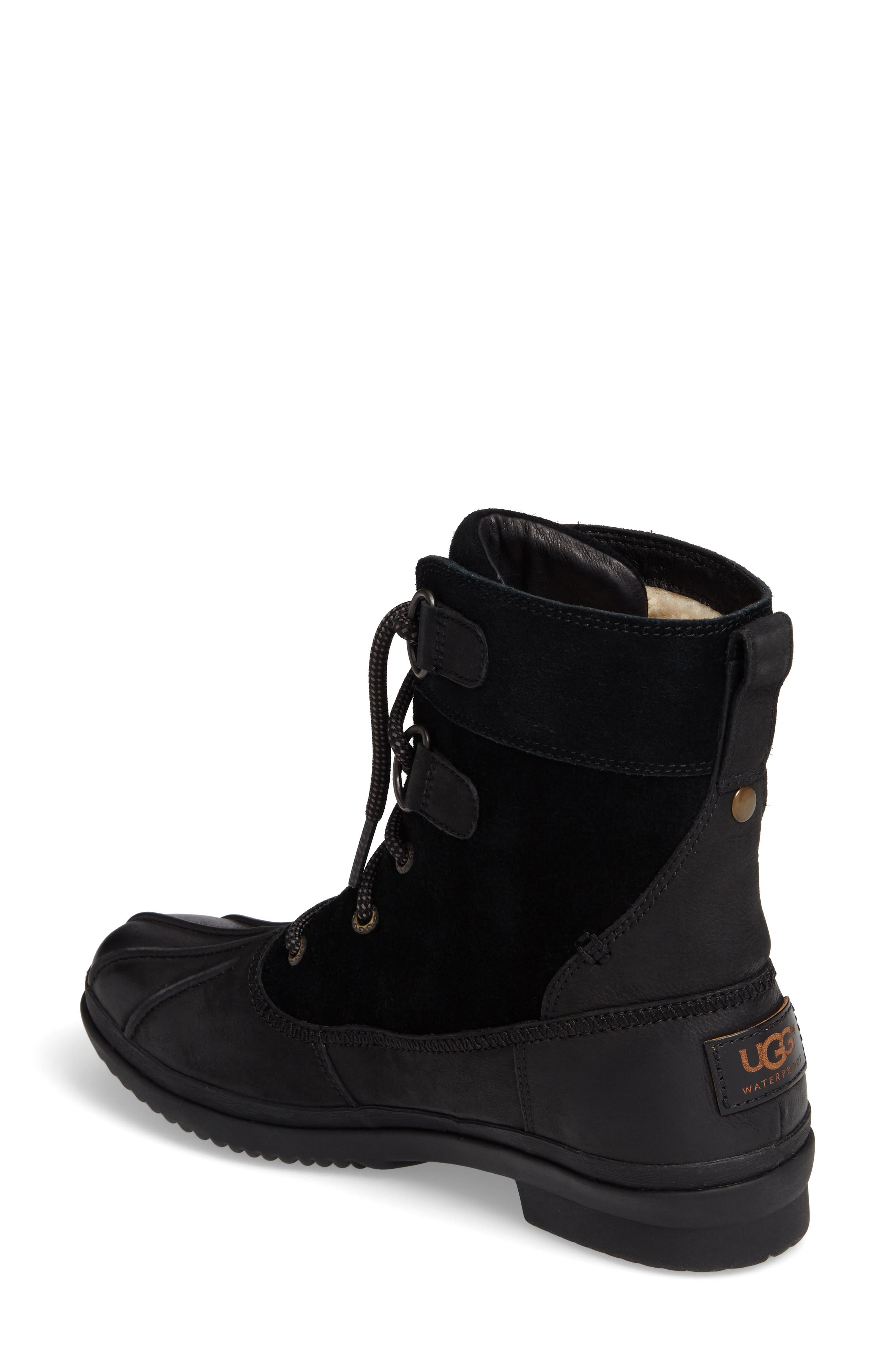 Azaria Waterproof Boot,                             Alternate thumbnail 2, color,                             Black Leather