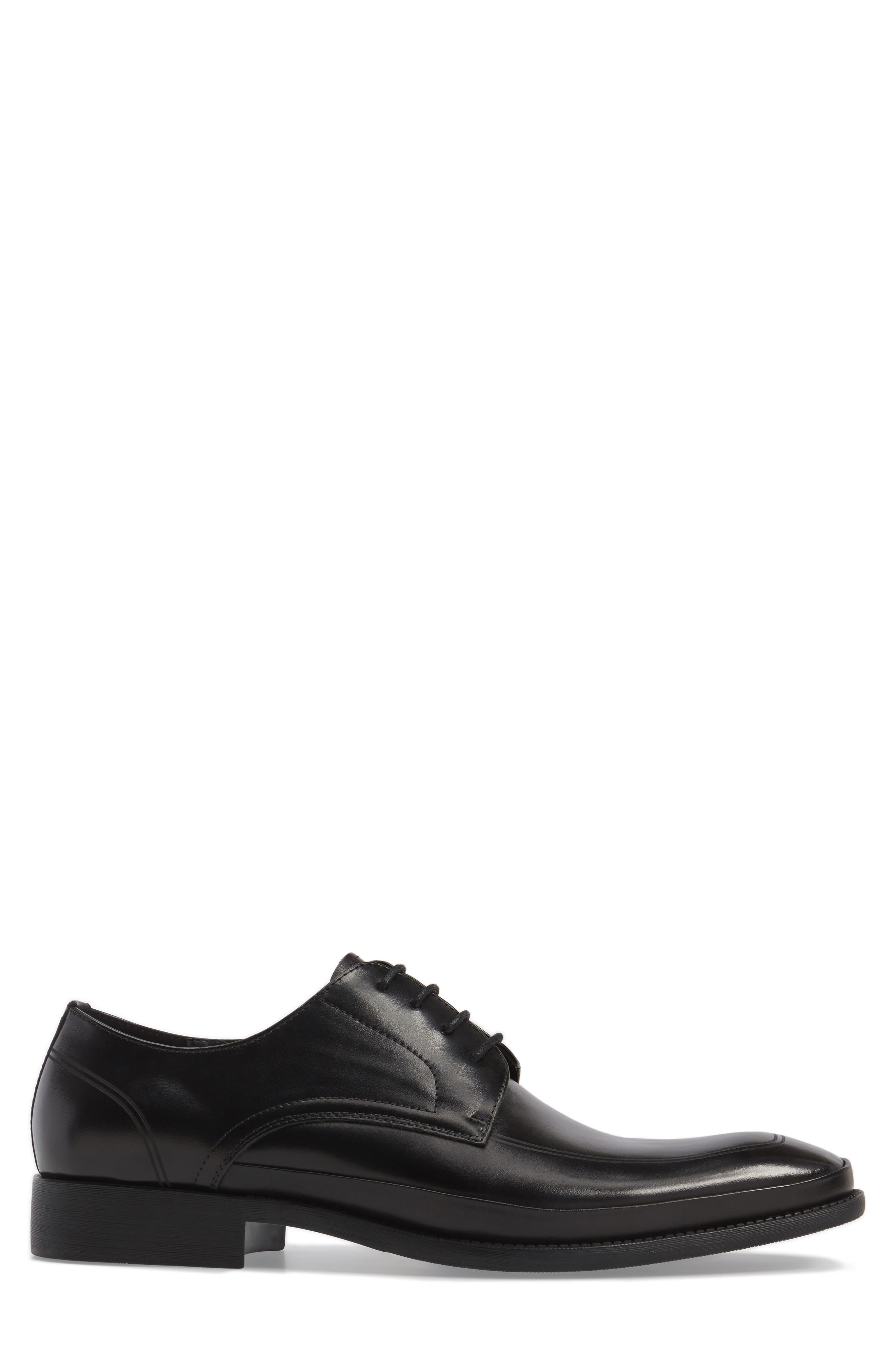 Brick Free Plain Toe Derby,                             Alternate thumbnail 3, color,                             Black Leather