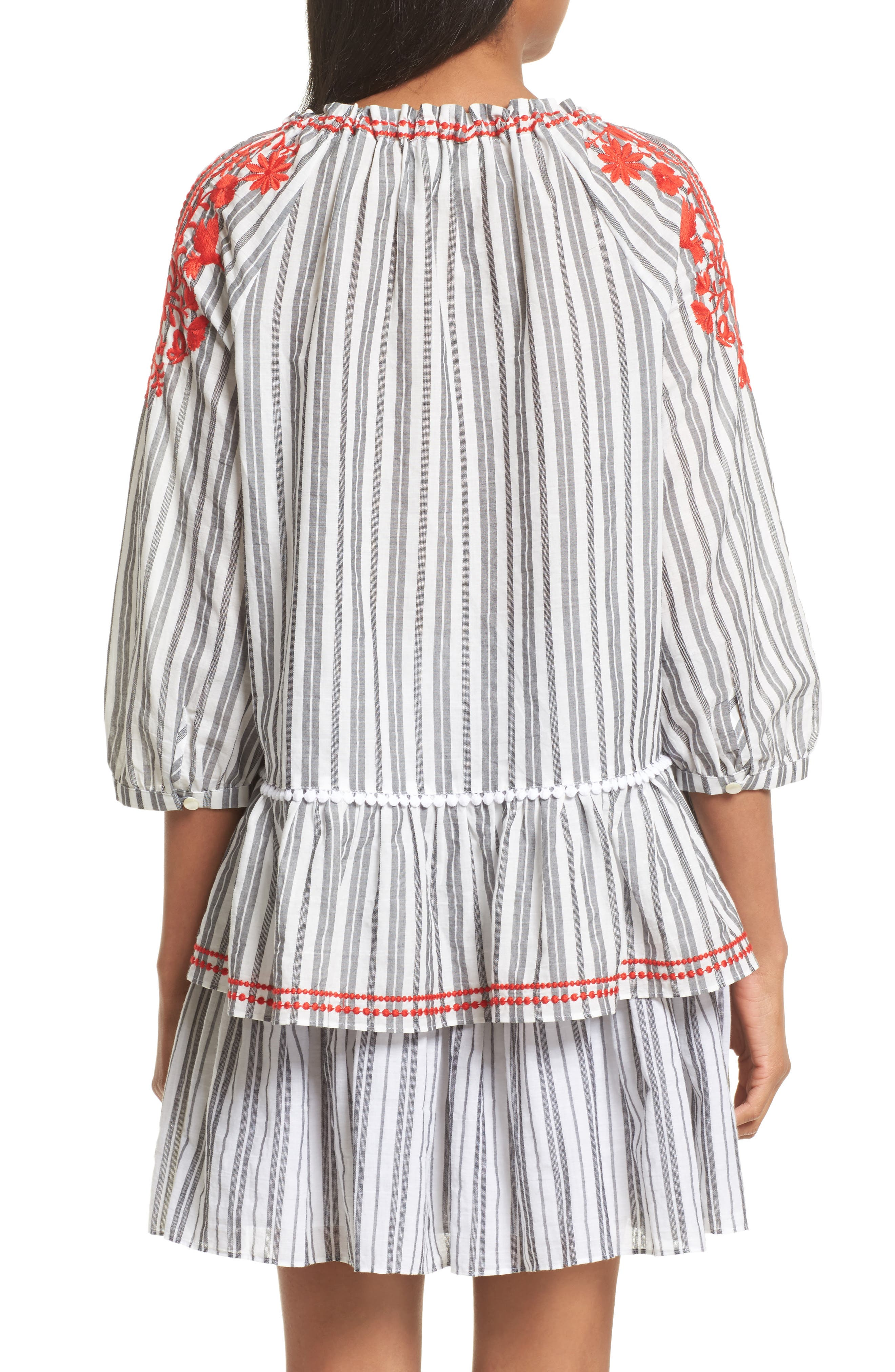 embroidered peasant top,                             Alternate thumbnail 3, color,                             Fresh White/ Black