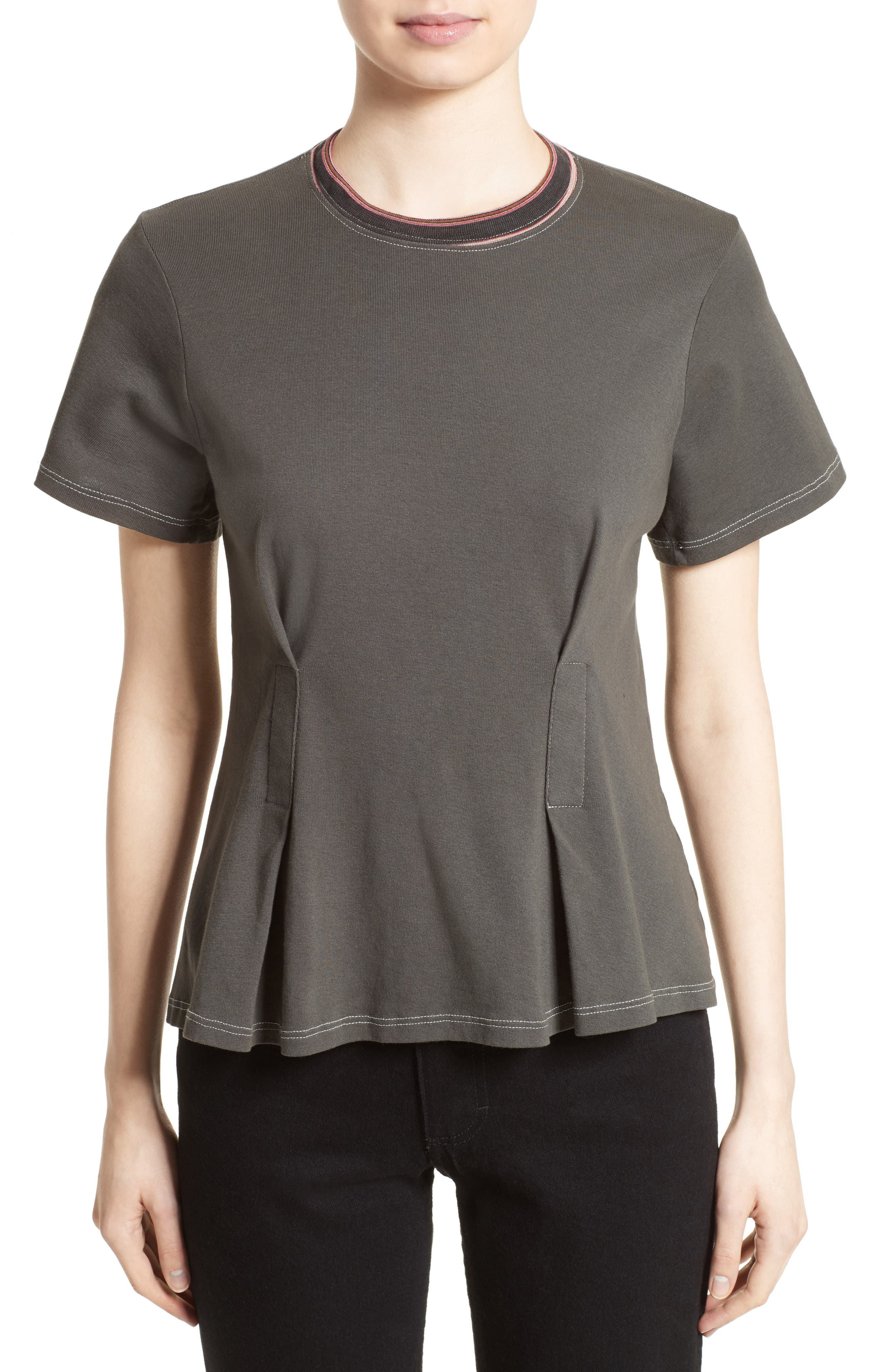 Top Stitch Tee,                         Main,                         color, Off Black