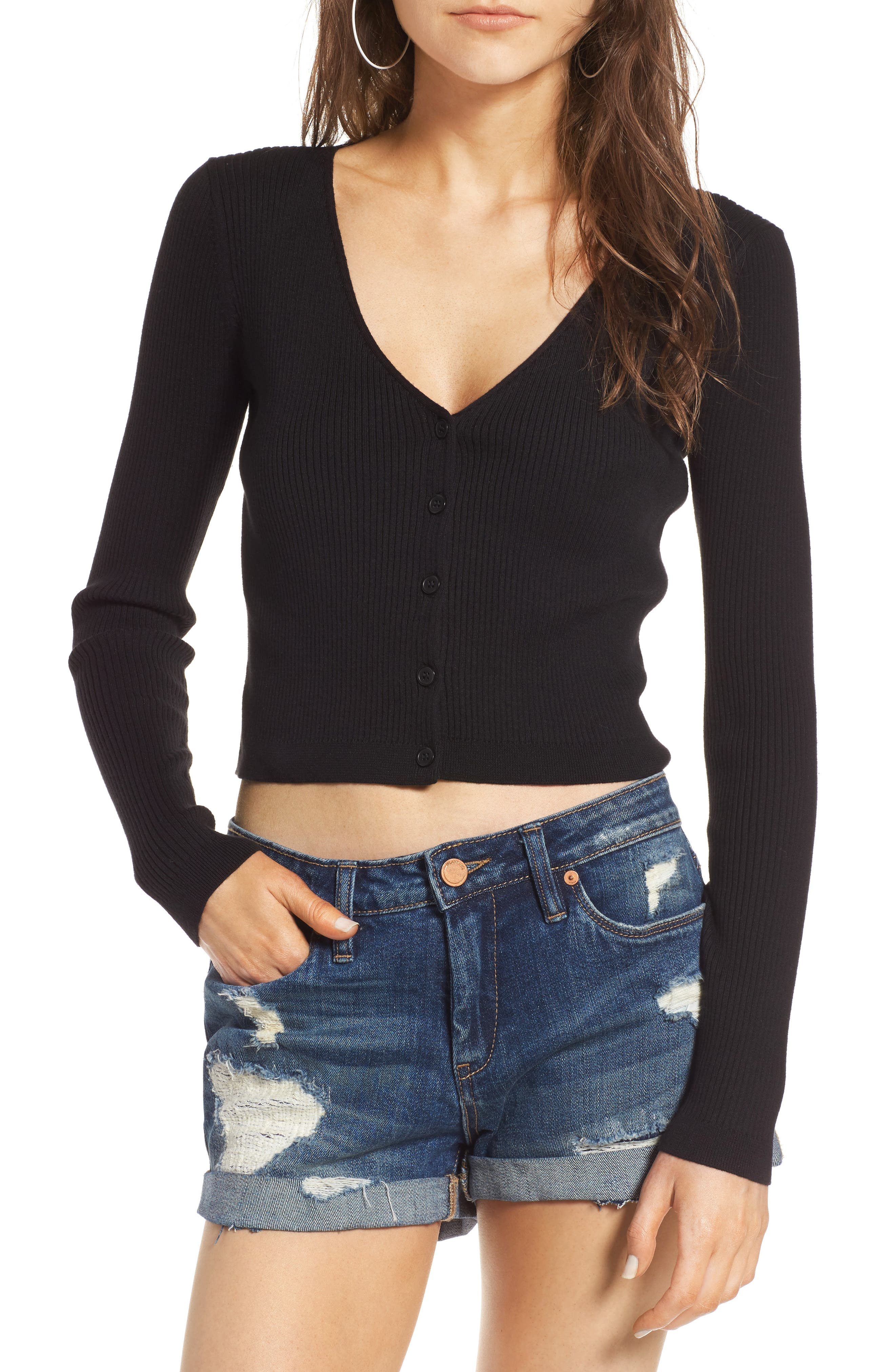 Main Image - BP. Rib Knit Crop Cardigan