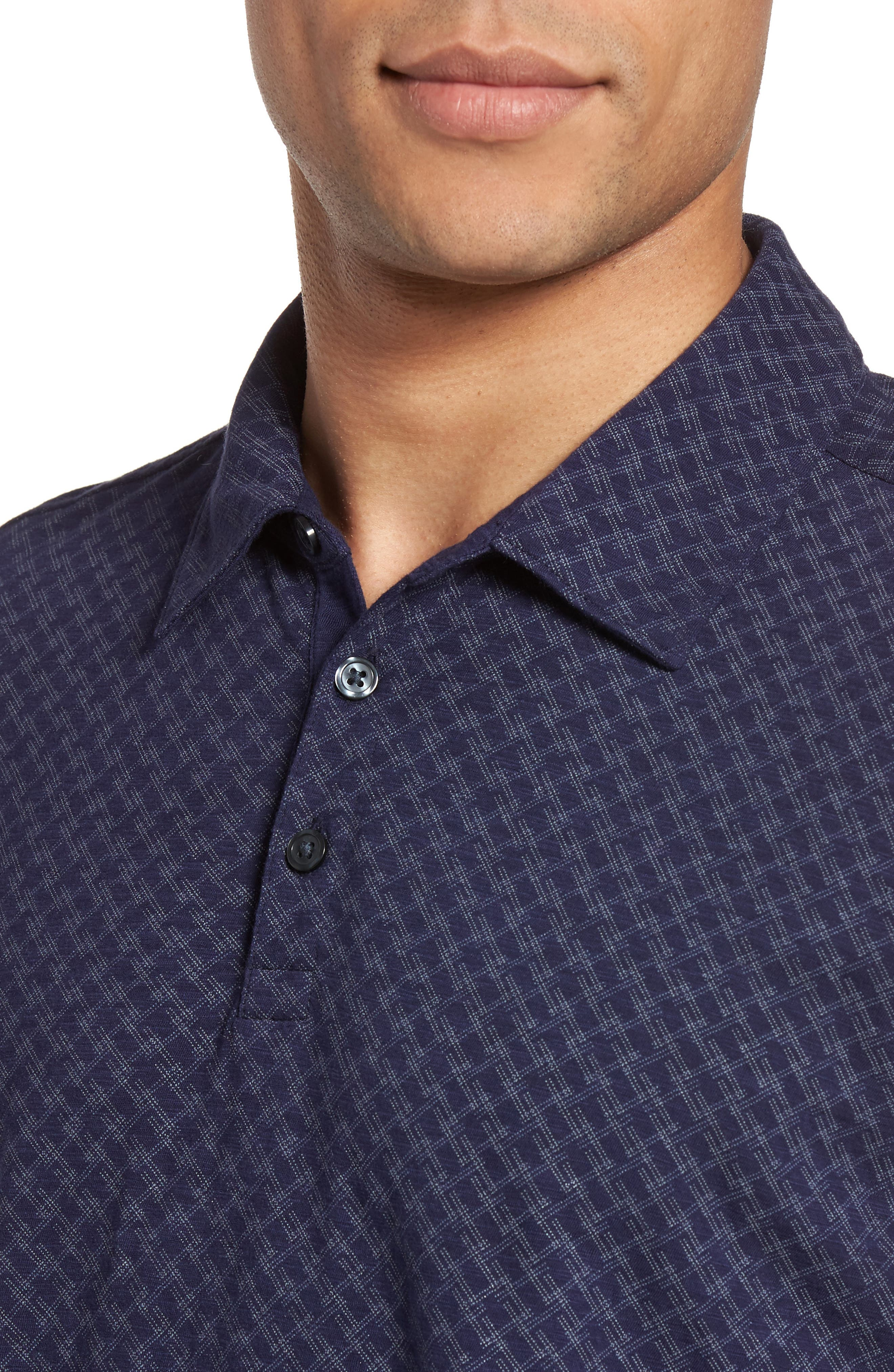 Mays Print Jersey Polo,                             Alternate thumbnail 4, color,                             Navy