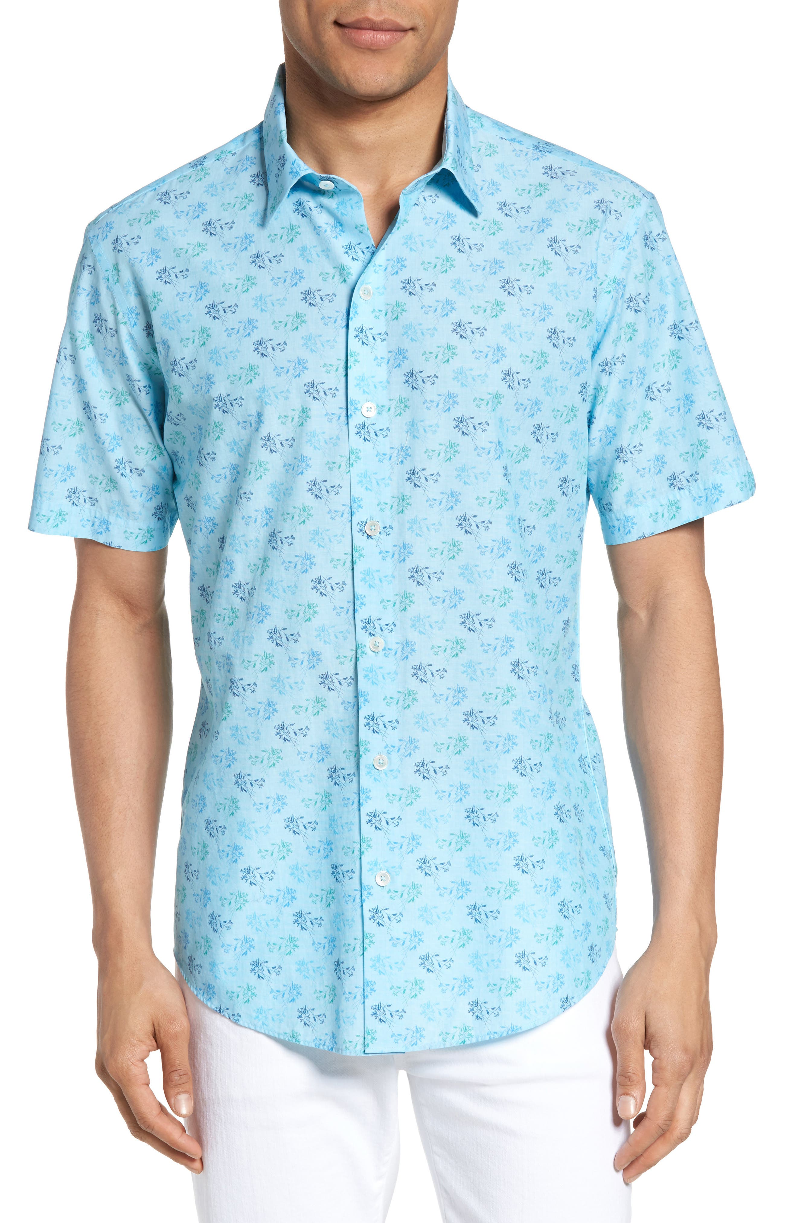 Cobb Print Sport Shirt,                         Main,                         color, Turquoise