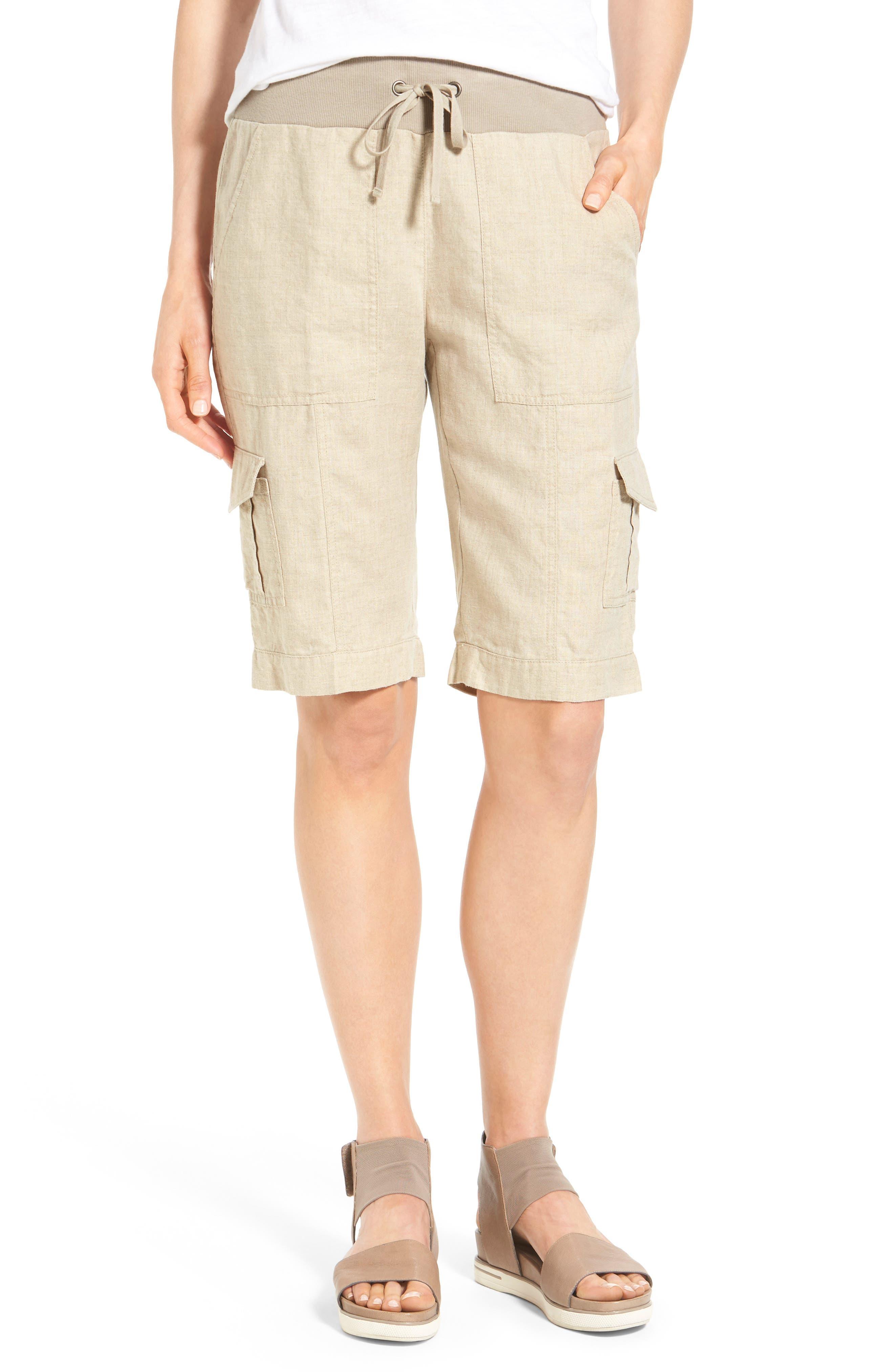 Drawstring Waist Bermuda Cargo Shorts,                         Main,                         color, Unnatural