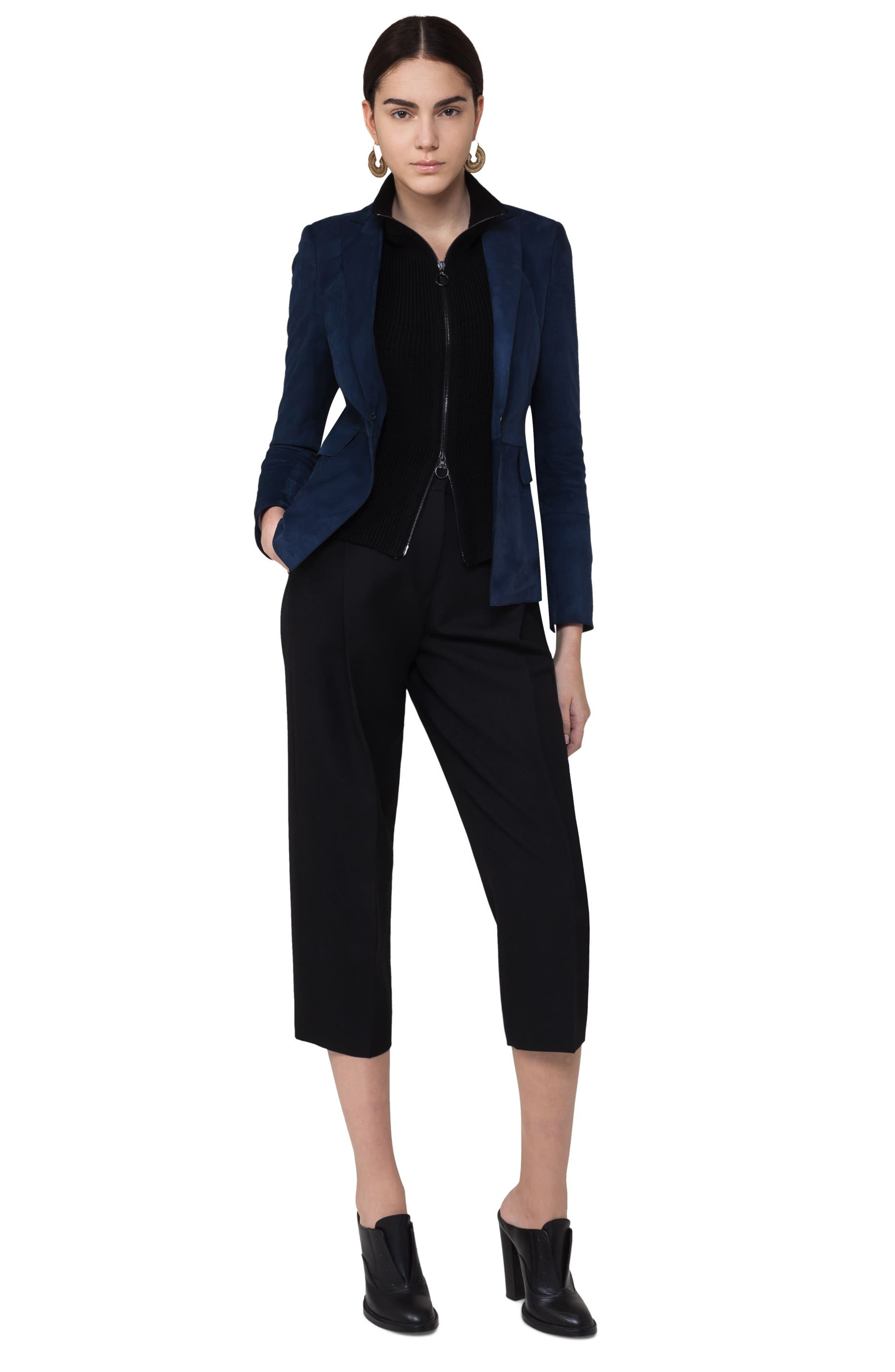 Suede Blazer with Removable Knit Insert,                             Alternate thumbnail 5, color,                             Solid Blue Denim