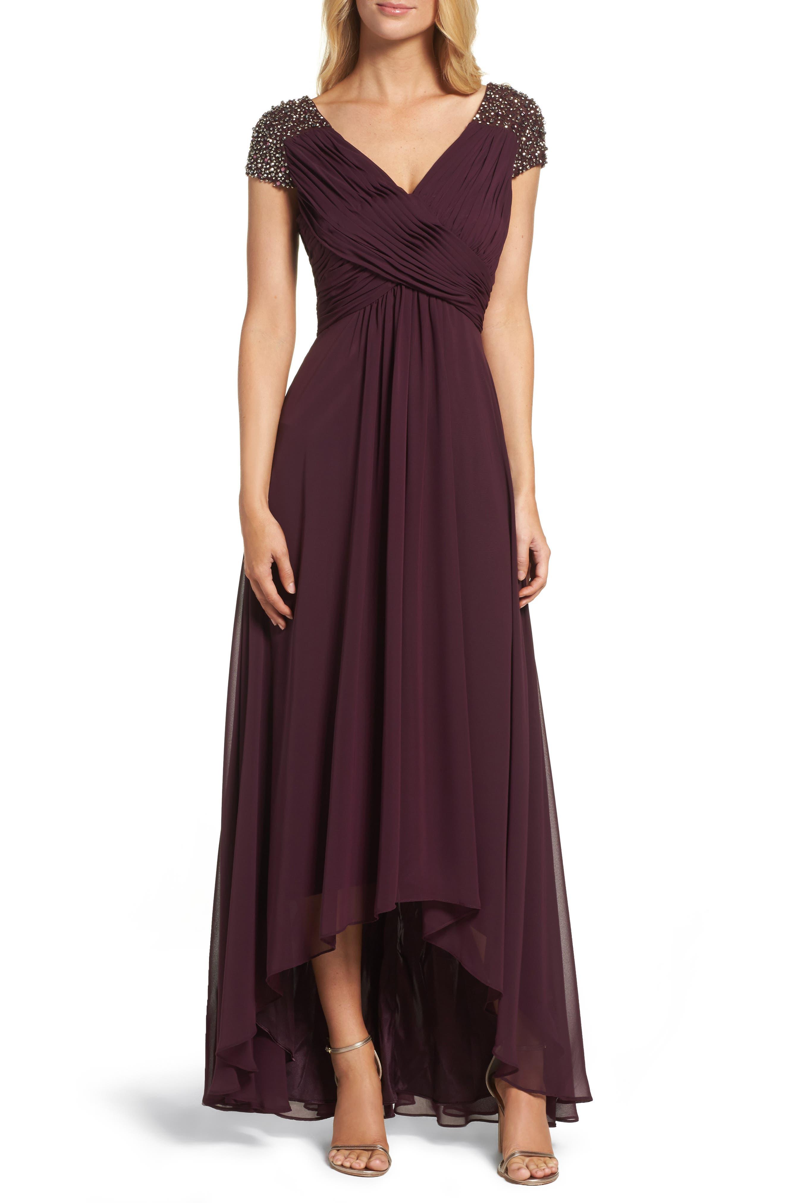 Eliza J Embellished Pleated Chiffon Gown