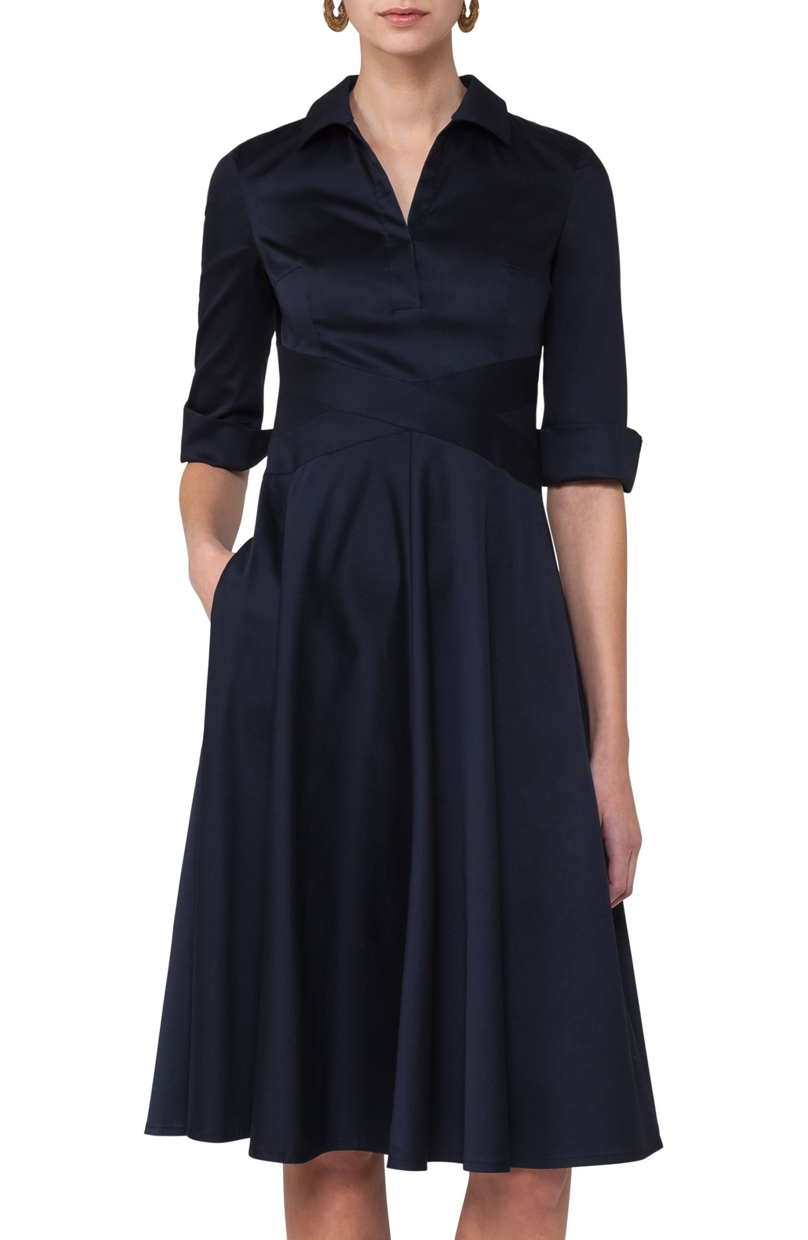 Sateen Fit & Flare Shirtdress,                         Main,                         color, Solid Blue Denim