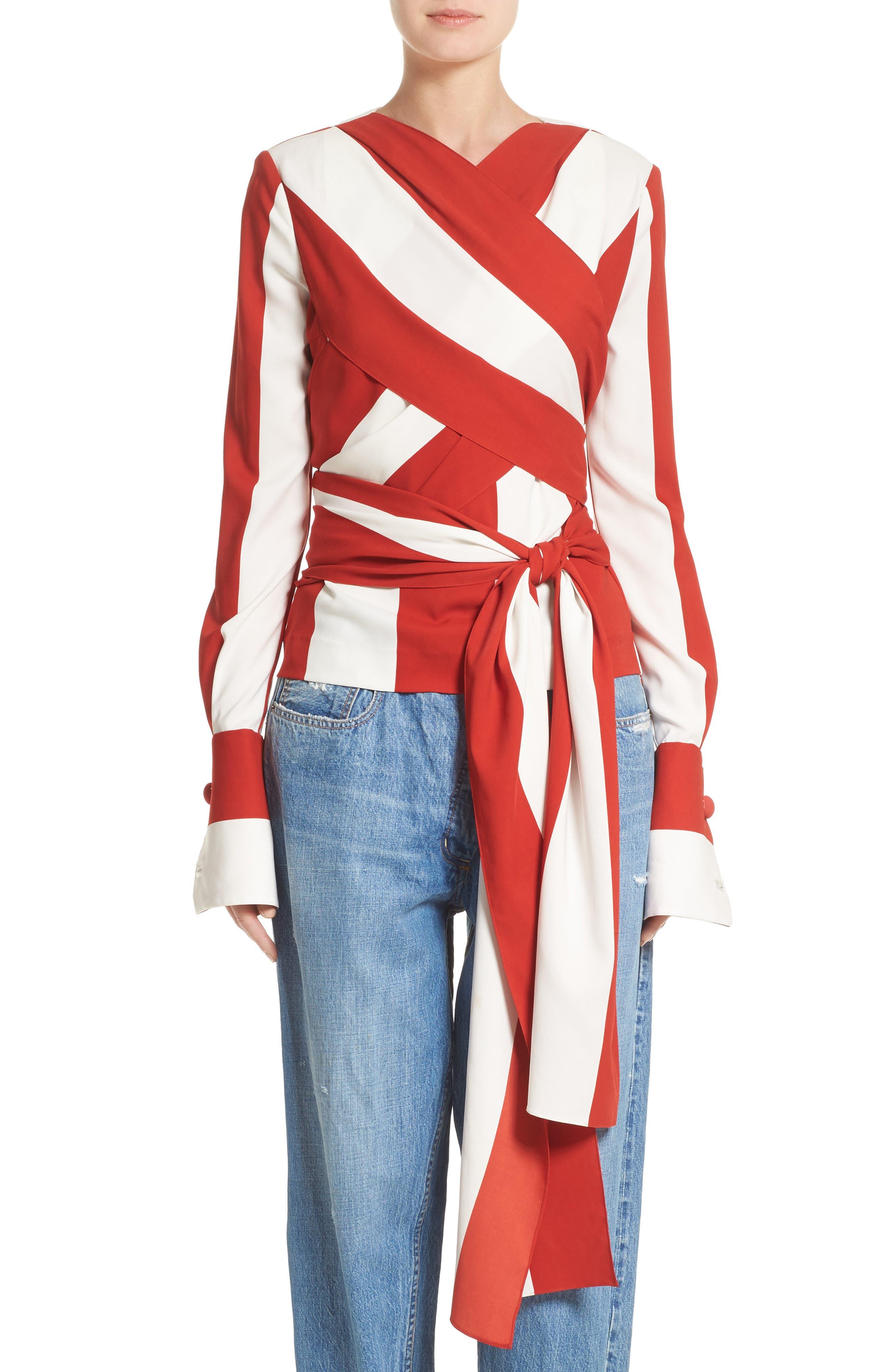 Stripe Stretch Silk Wrap Blouse,                         Main,                         color, Paprika/ White