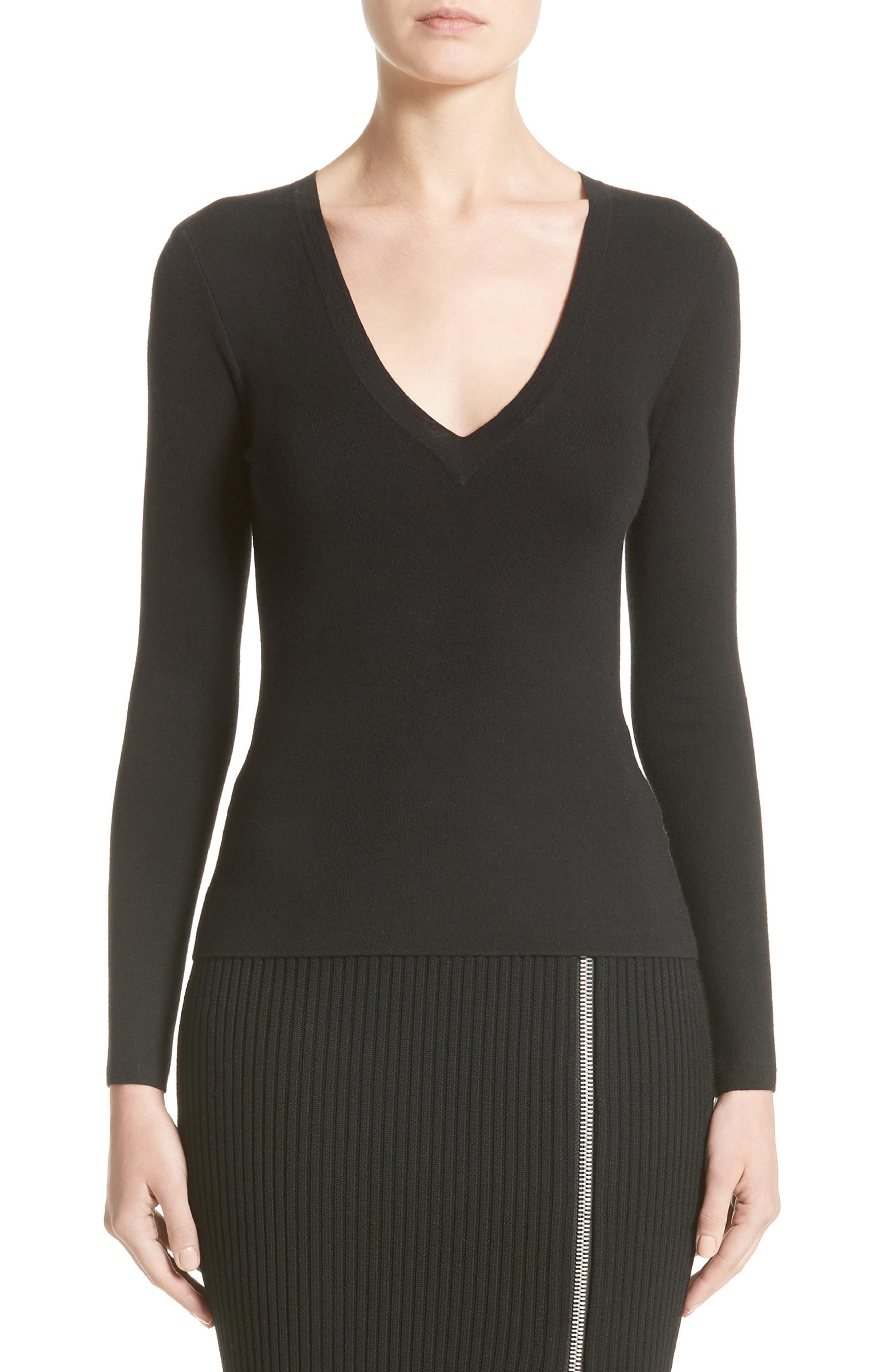 Cashmere V-Neck Sweater,                         Main,                         color, Black