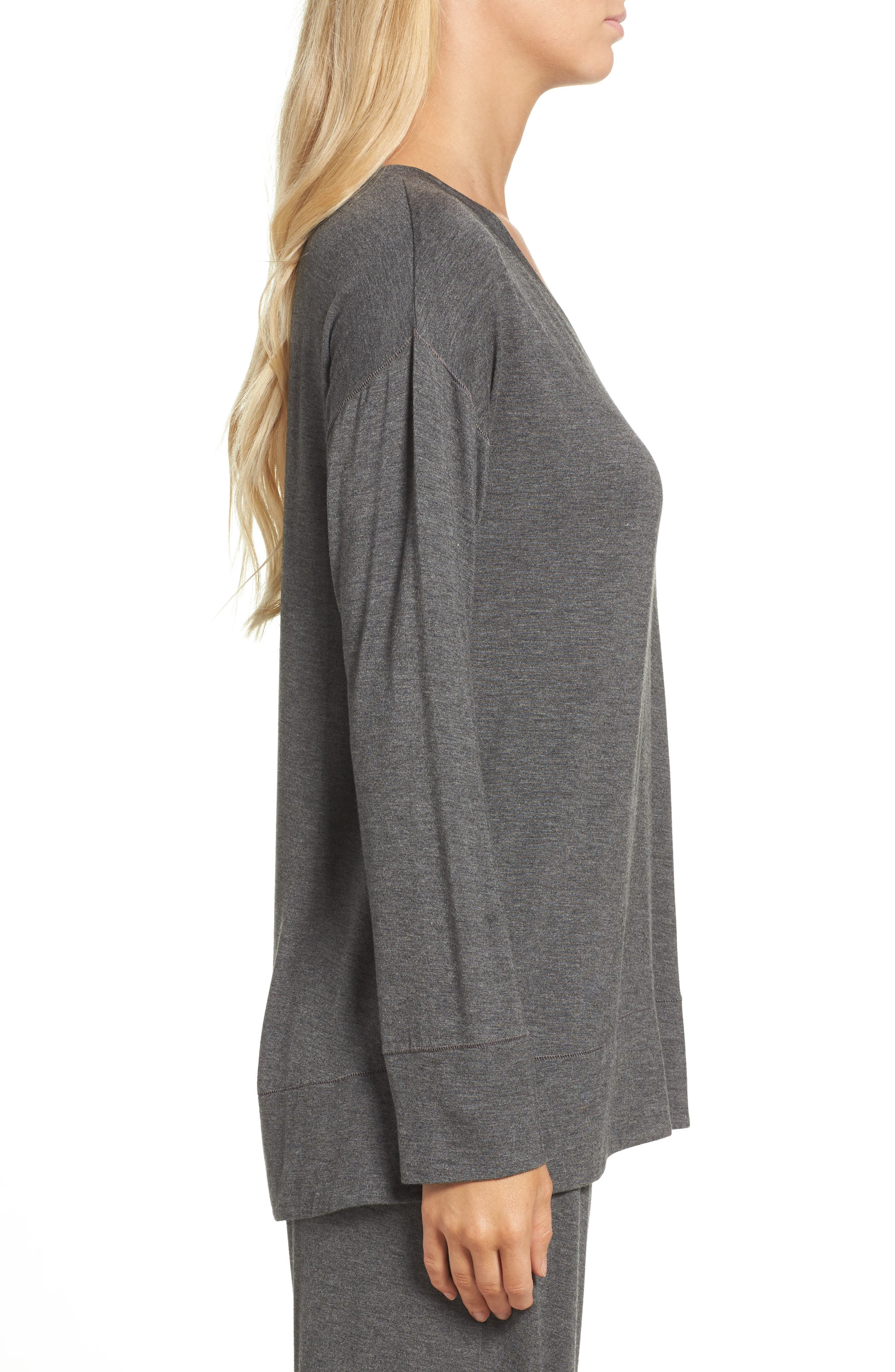 Lounge Top,                             Alternate thumbnail 3, color,                             Charcoal Heather