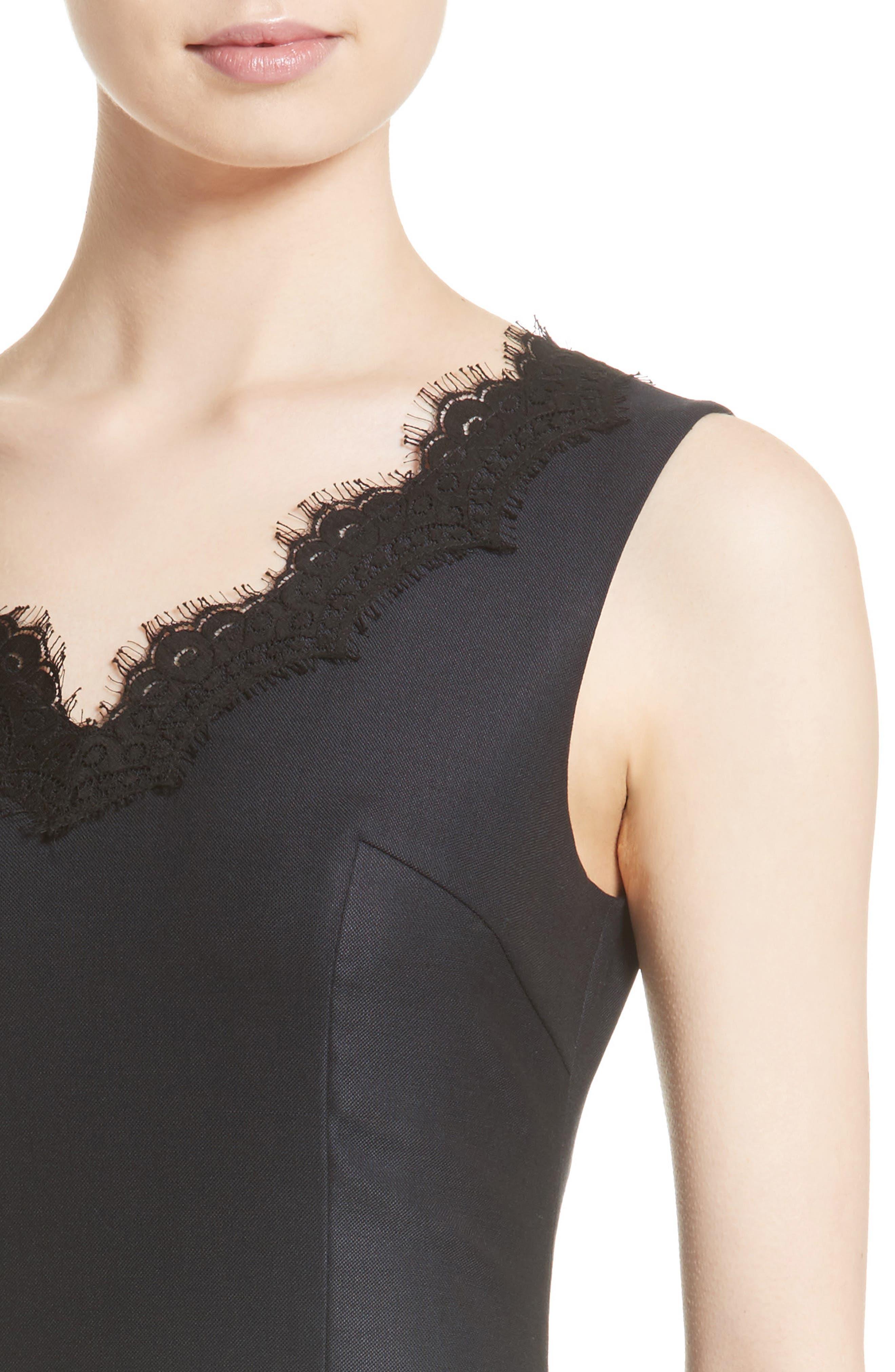 Stretch Birdseye Sheath Dress,                             Alternate thumbnail 4, color,                             Navy/ Caviar