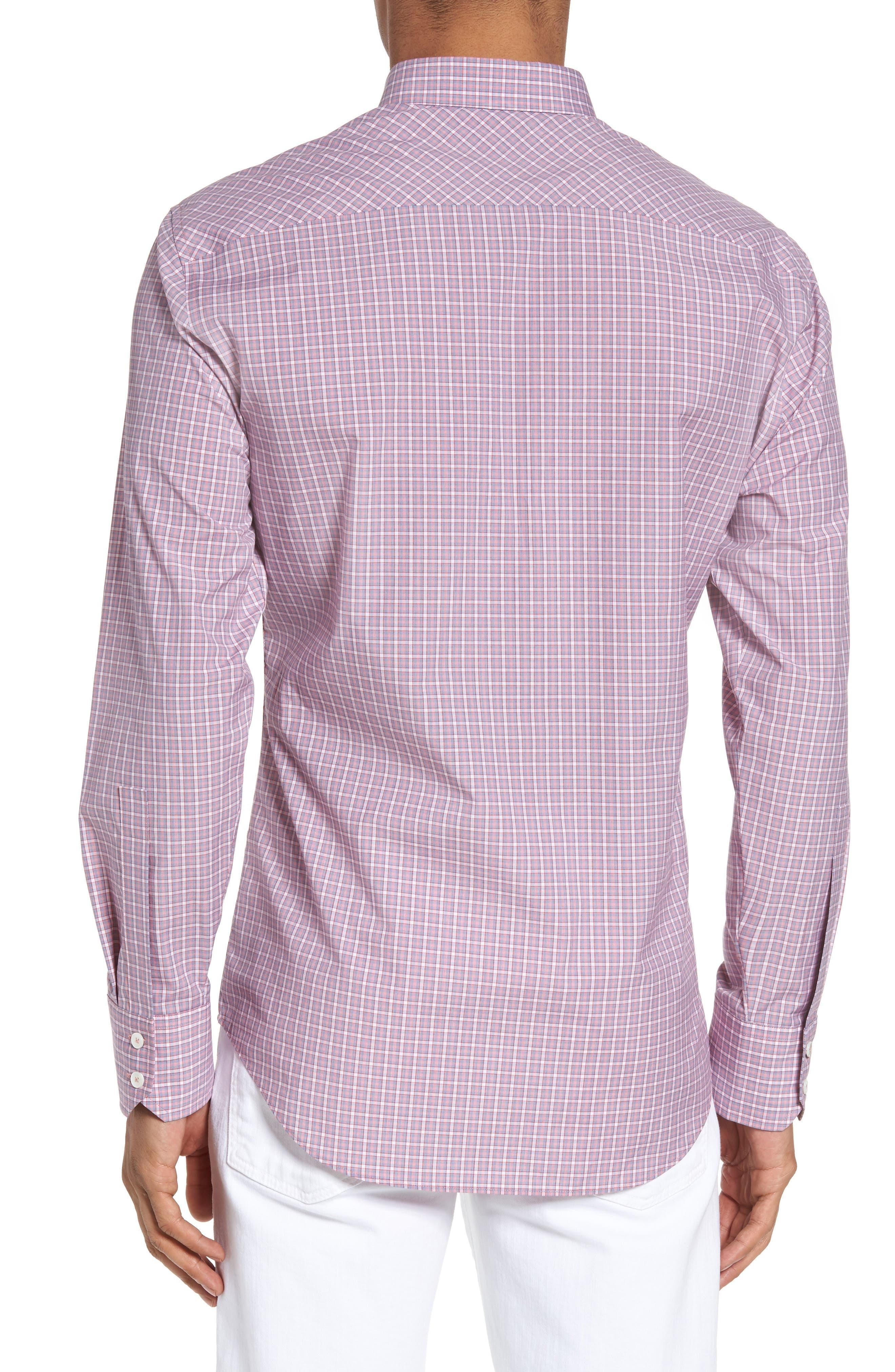 Balestier Trim Fit Plaid Sport Shirt,                             Alternate thumbnail 2, color,                             Pink