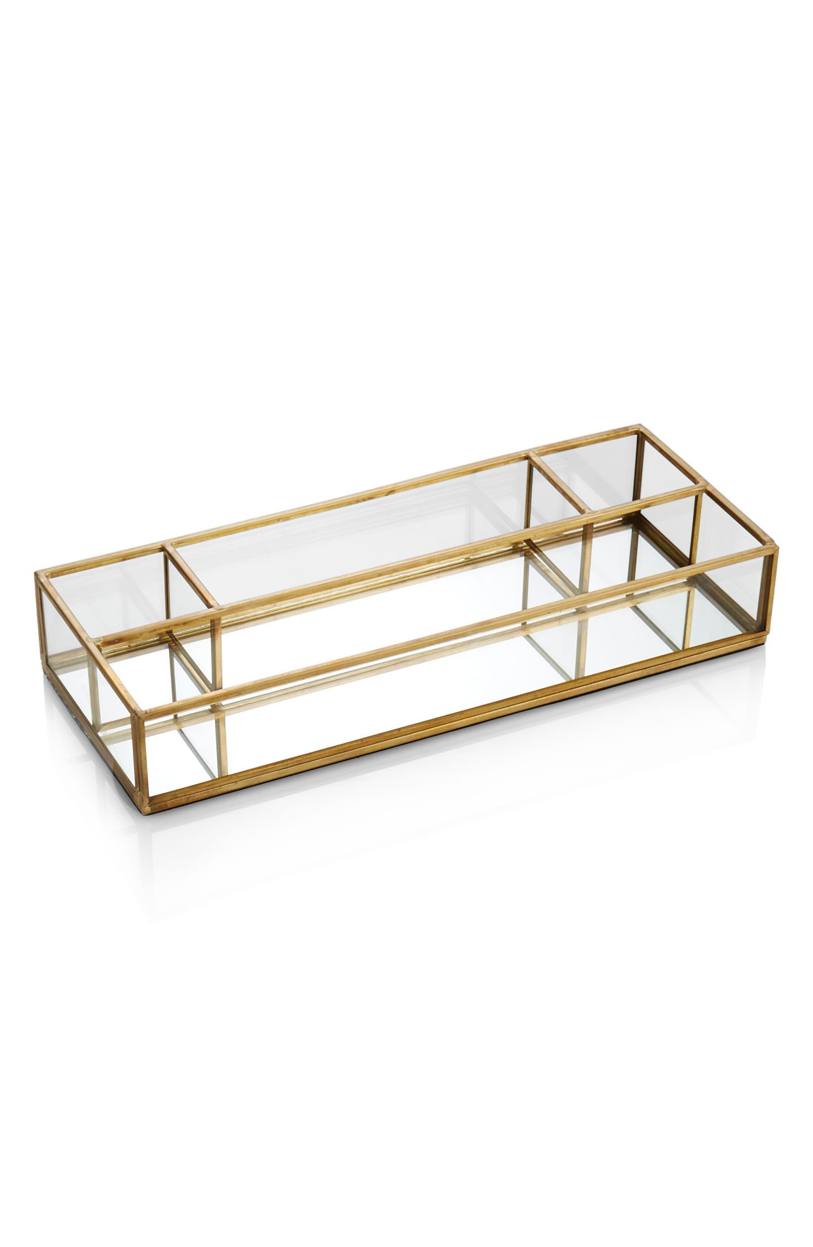 Monaco Rectangular Tray,                         Main,                         color, Clear/ Gold Trim