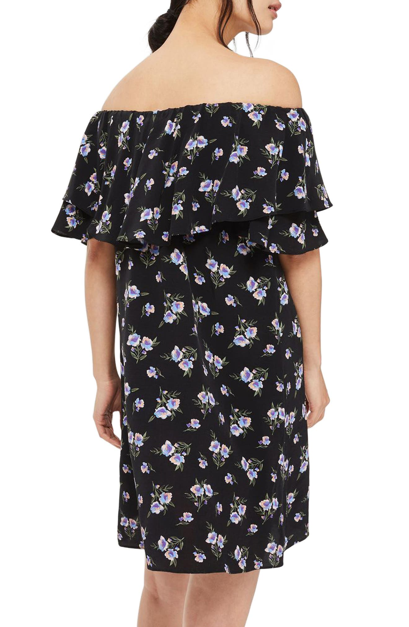 Alternate Image 3  - Topshop Bardot Floral Minidress