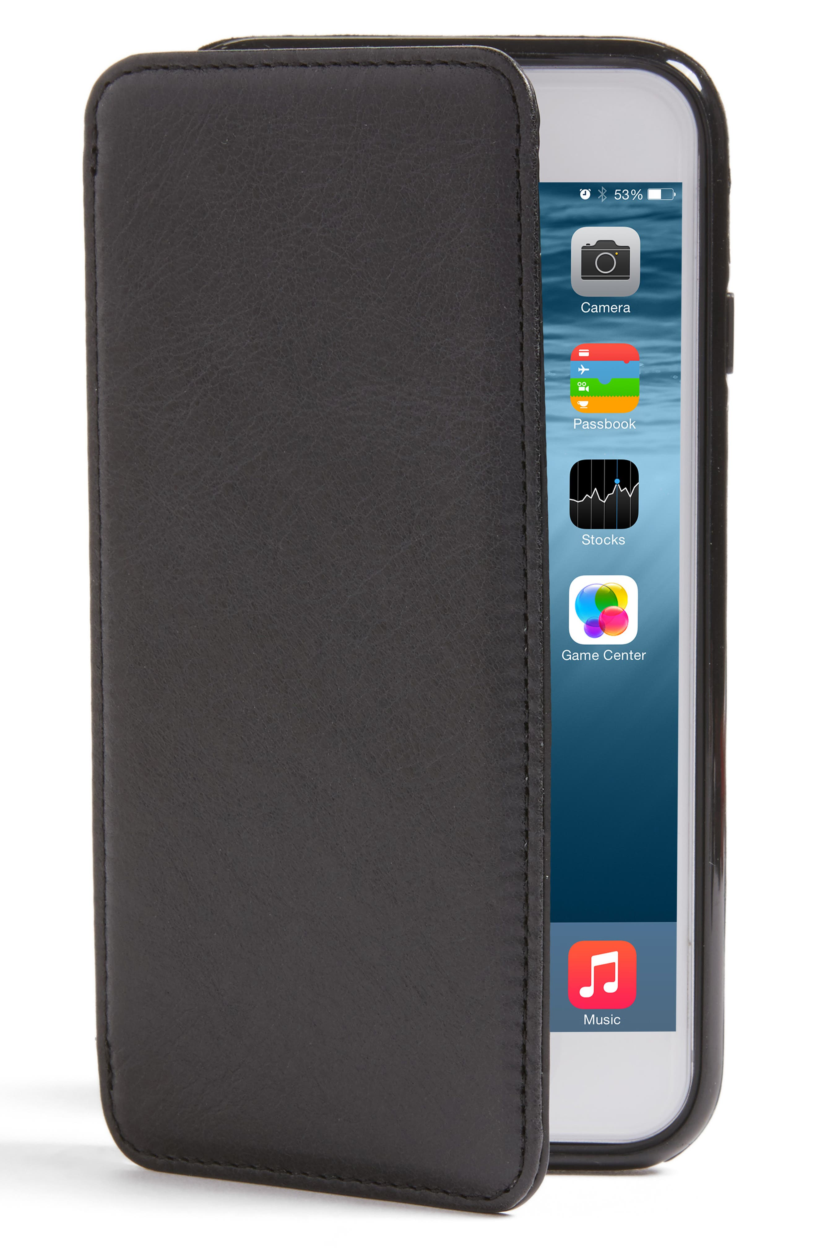 iPhone 7/8 Leather Wallet Case,                         Main,                         color, Black