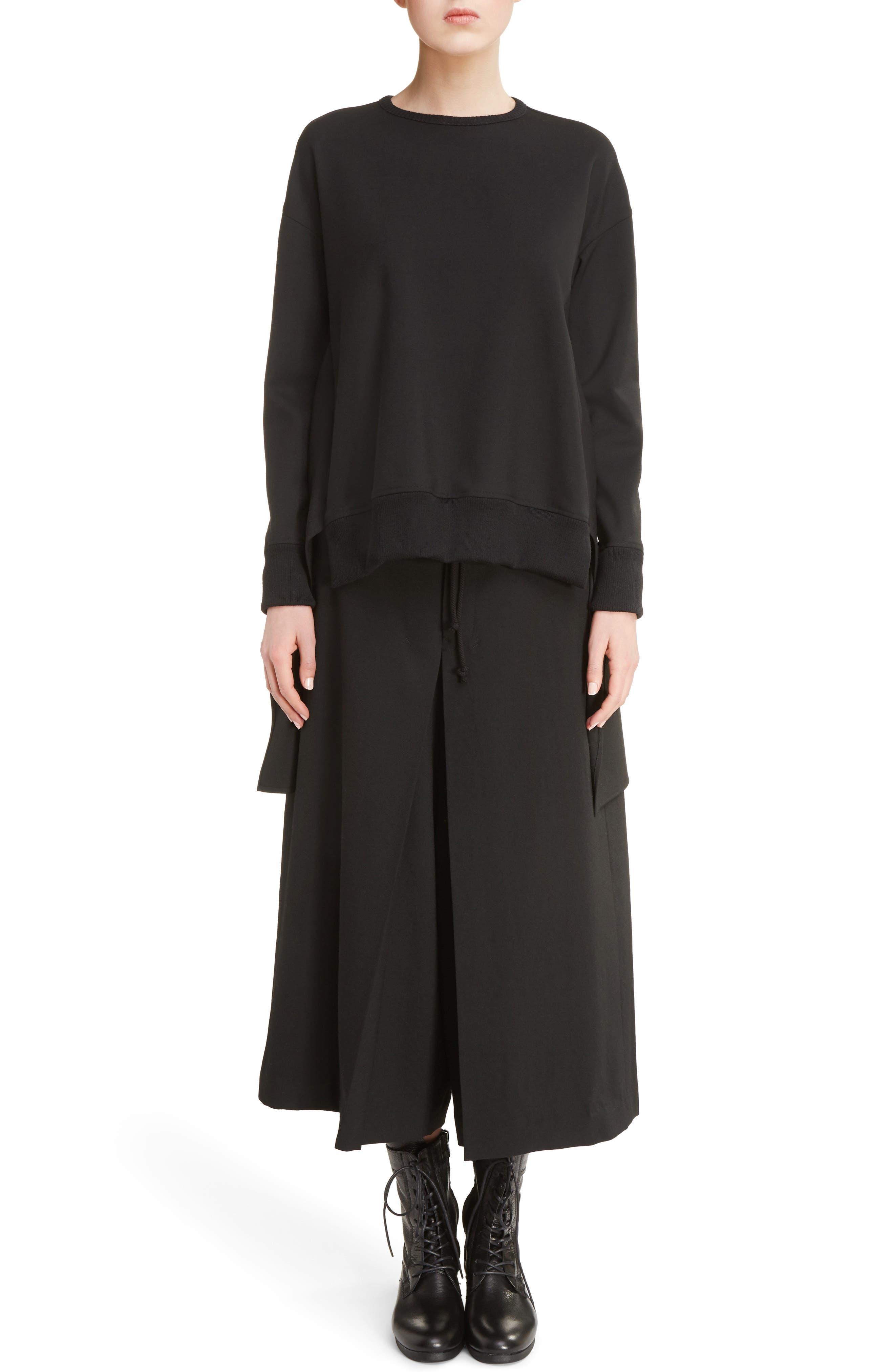 K Bottom Pleated Dress,                             Alternate thumbnail 7, color,                             Black