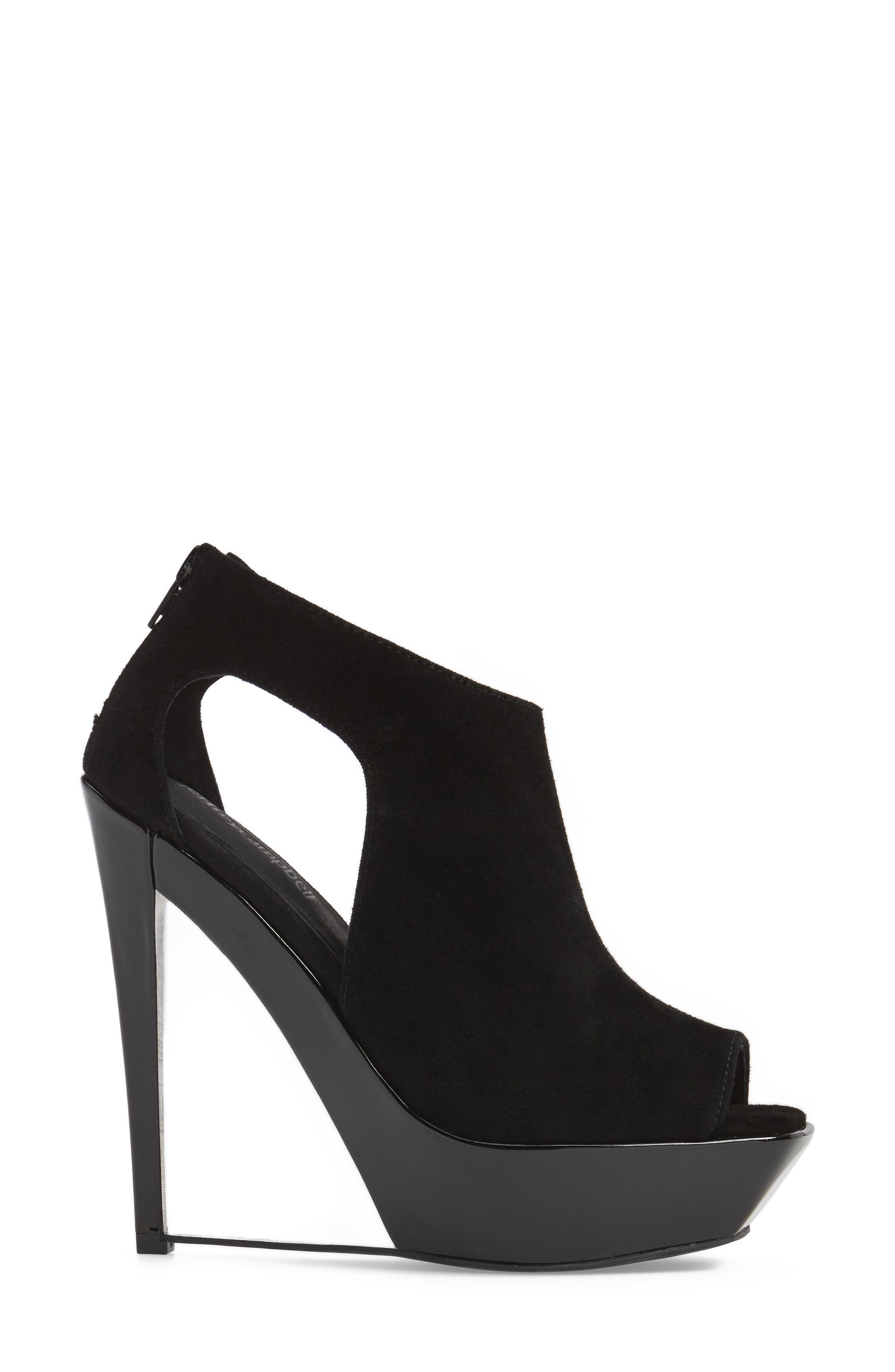 Dunya Cutout Platform Wedge Sandal,                             Alternate thumbnail 3, color,                             Black Clear Leather