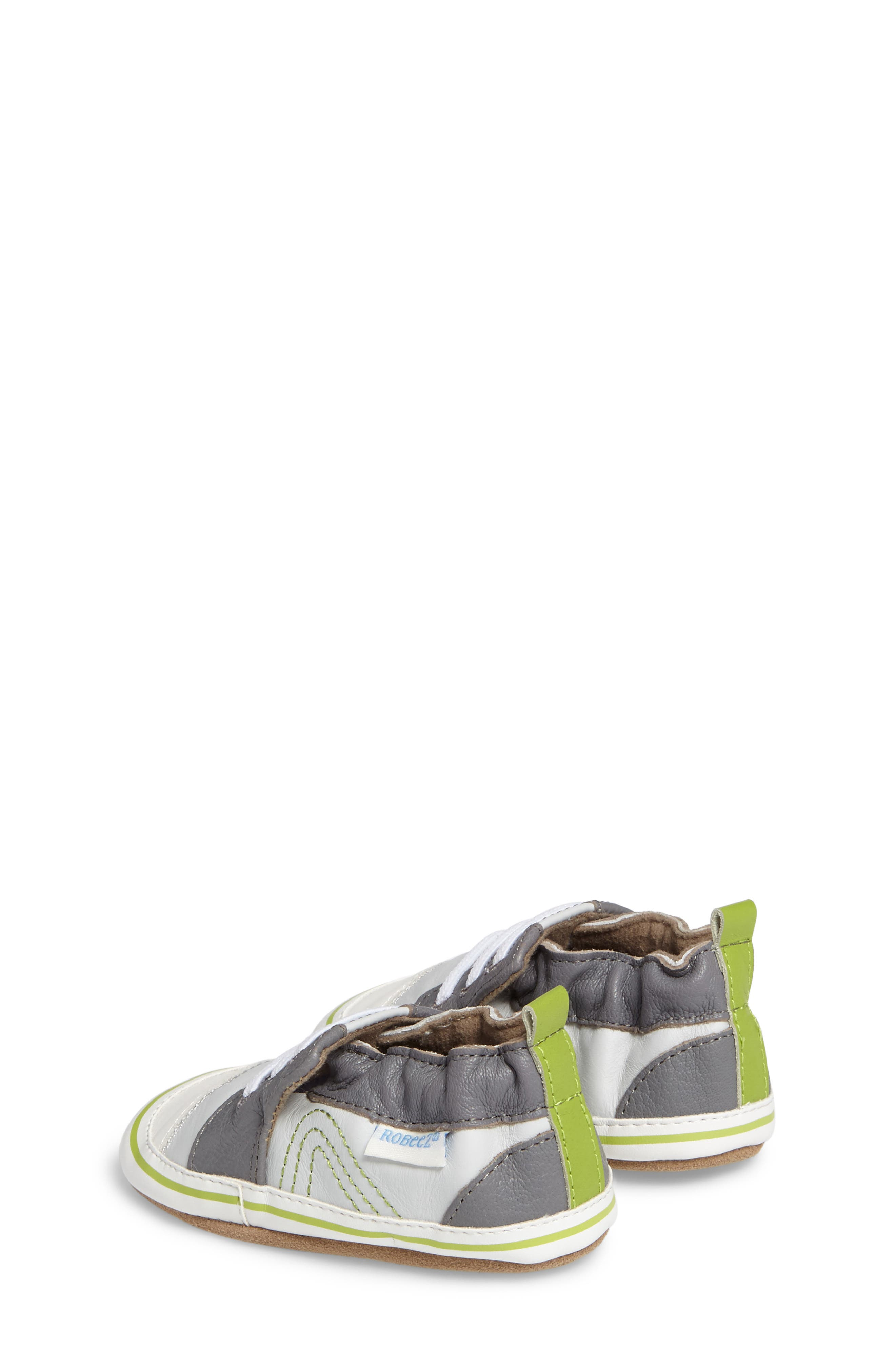 Trendy Trainer Sneaker Crib Shoe,                             Alternate thumbnail 2, color,                             Grey Leather