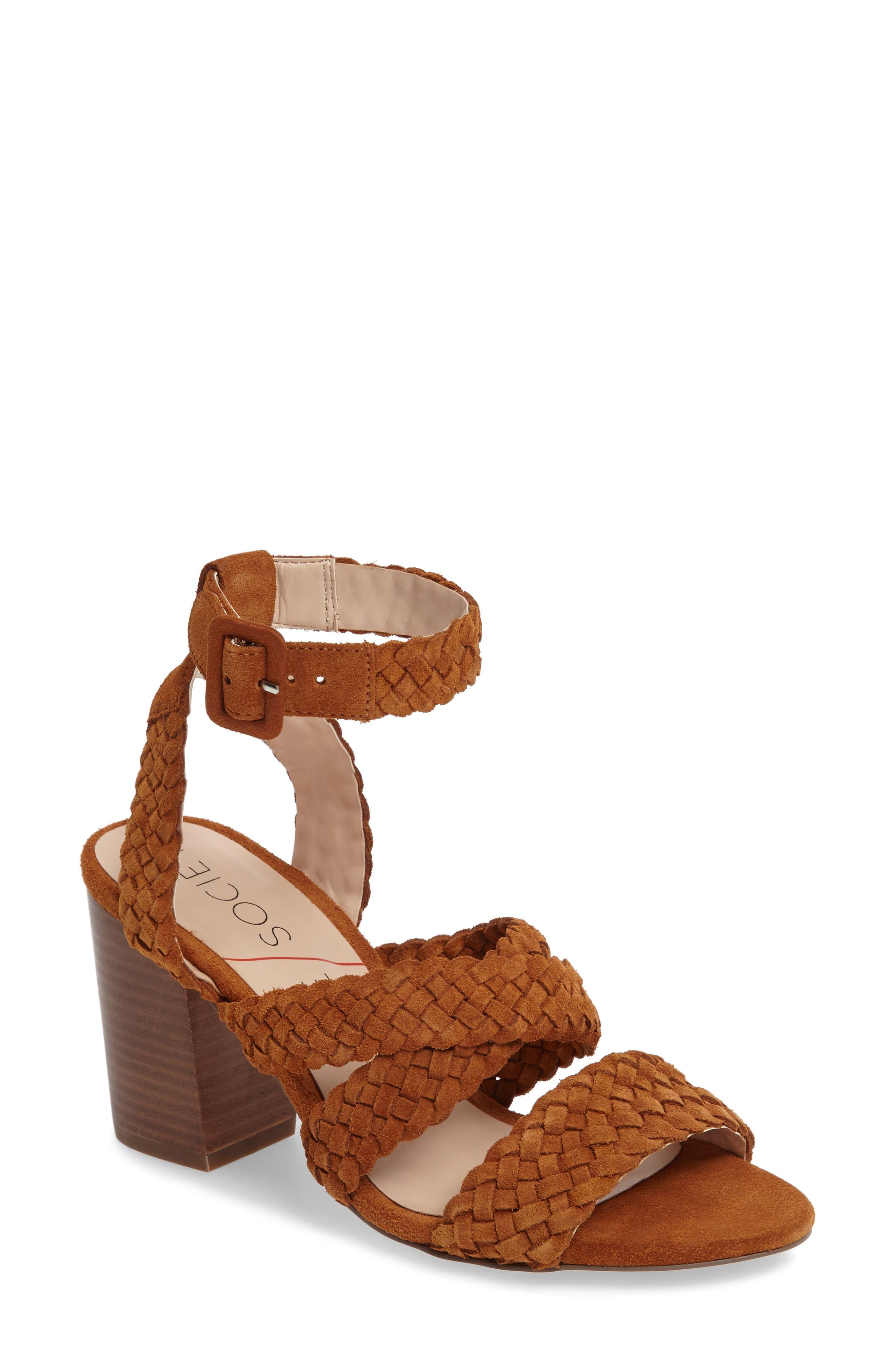 Evelina Block Heel Sandal,                             Main thumbnail 1, color,                             Chestnut