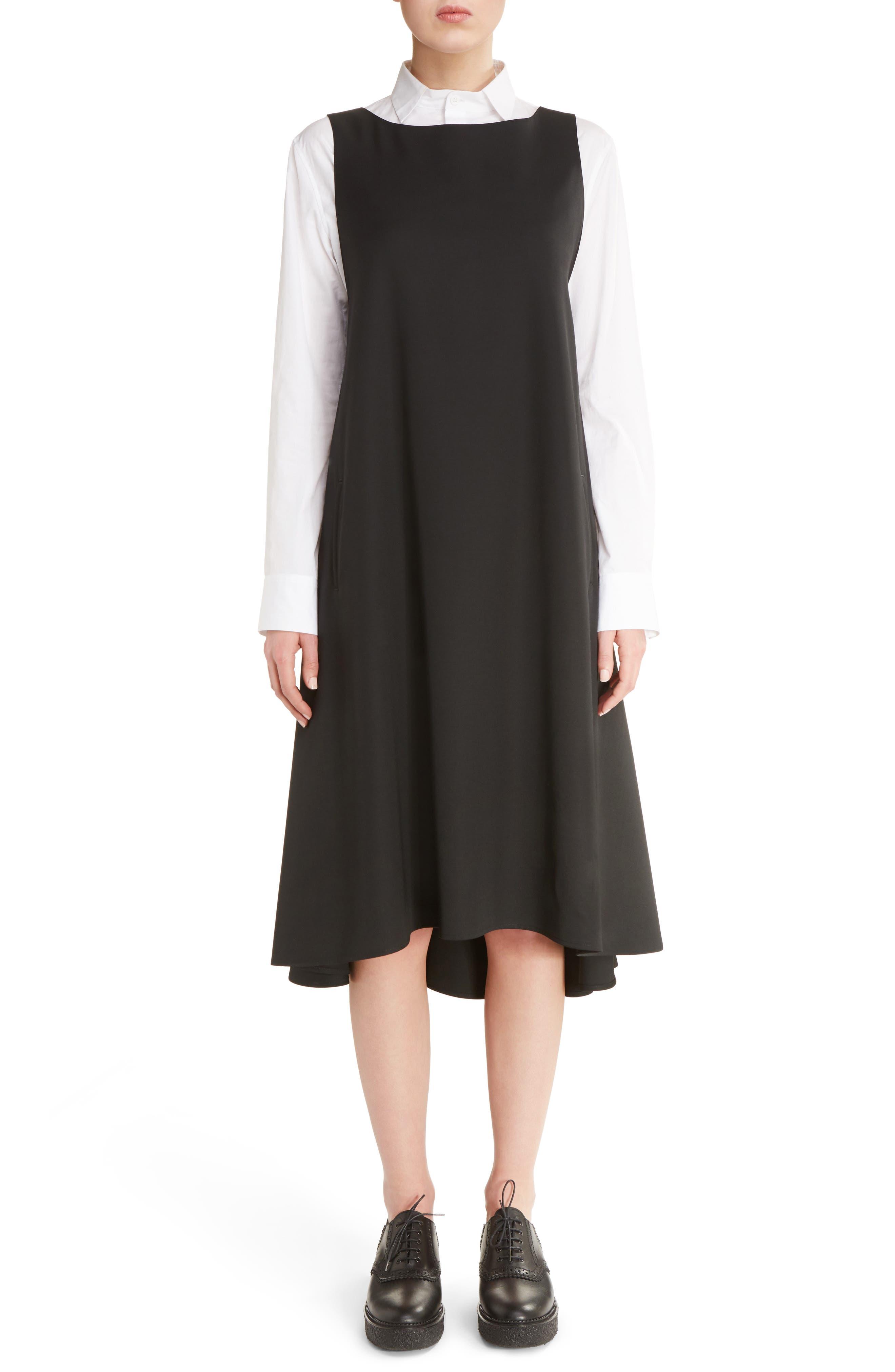 V-Back Sleeveless Wool Dress,                         Main,                         color, Black