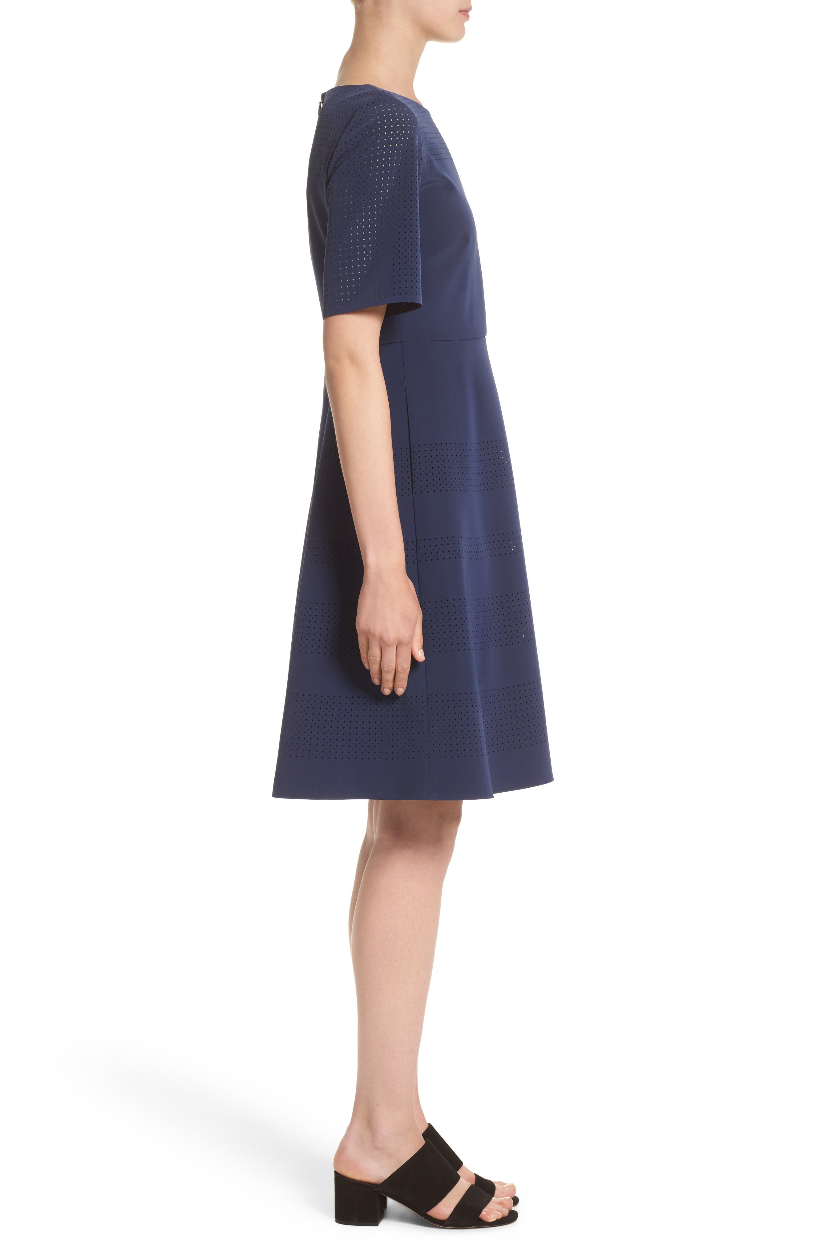 Tamera Perforated Fit & Flare Dress,                             Alternate thumbnail 4, color,                             Delft