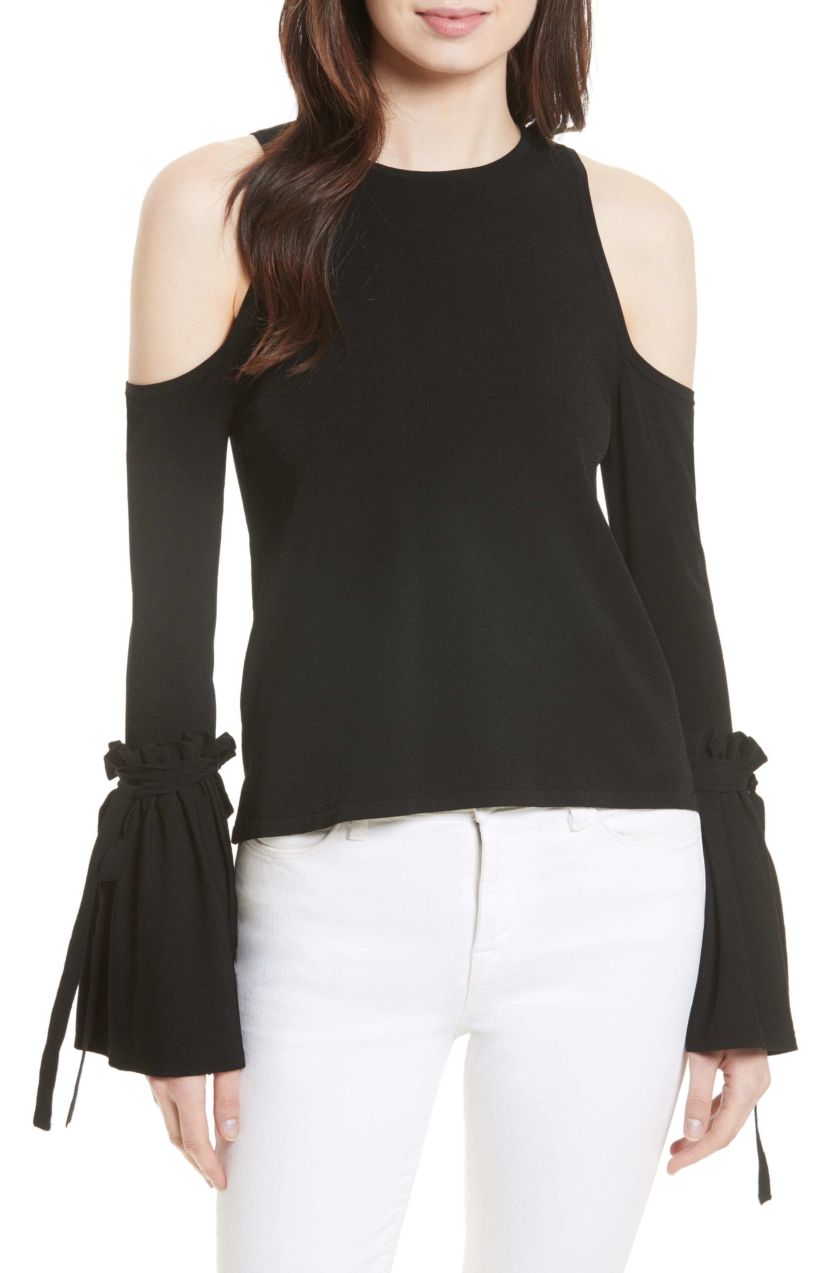 MILLY Cold Shoulder Knit Tie Sleeve Top