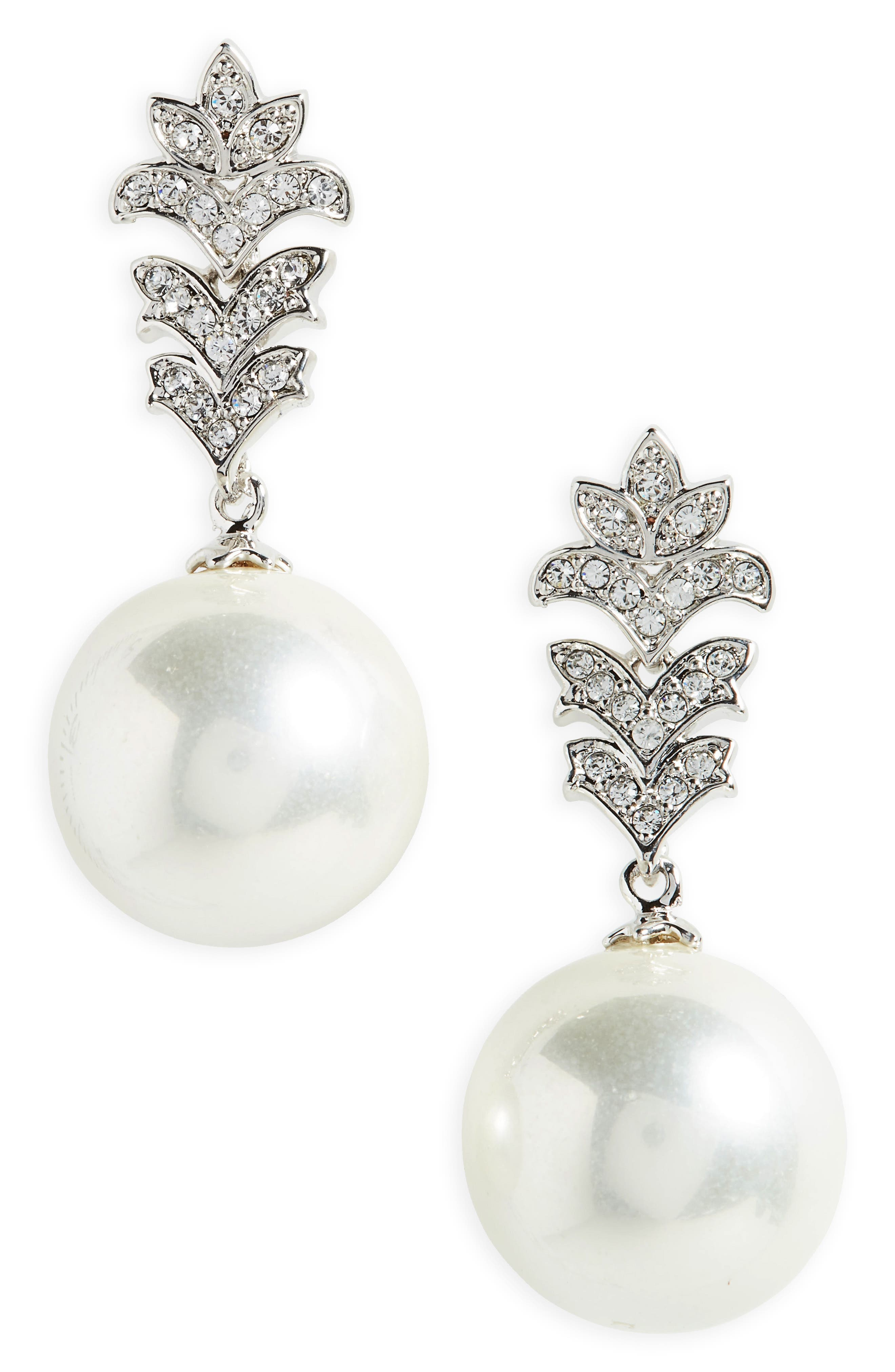 Imitation Pearl Drop Earrings,                         Main,                         color, Ivory Pearl / Silver