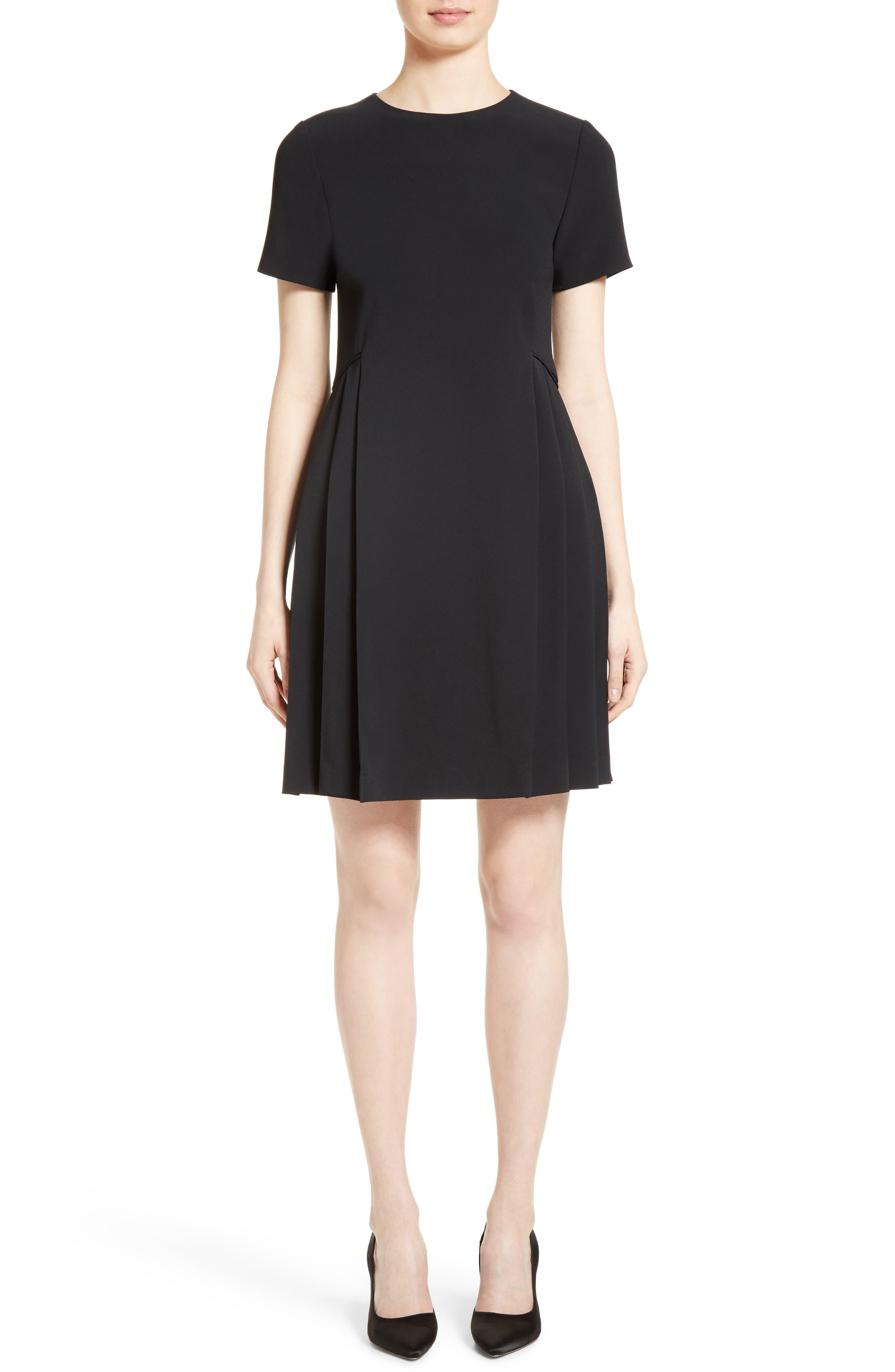 Pleated Fit & Flare Minidress,                         Main,                         color, Black