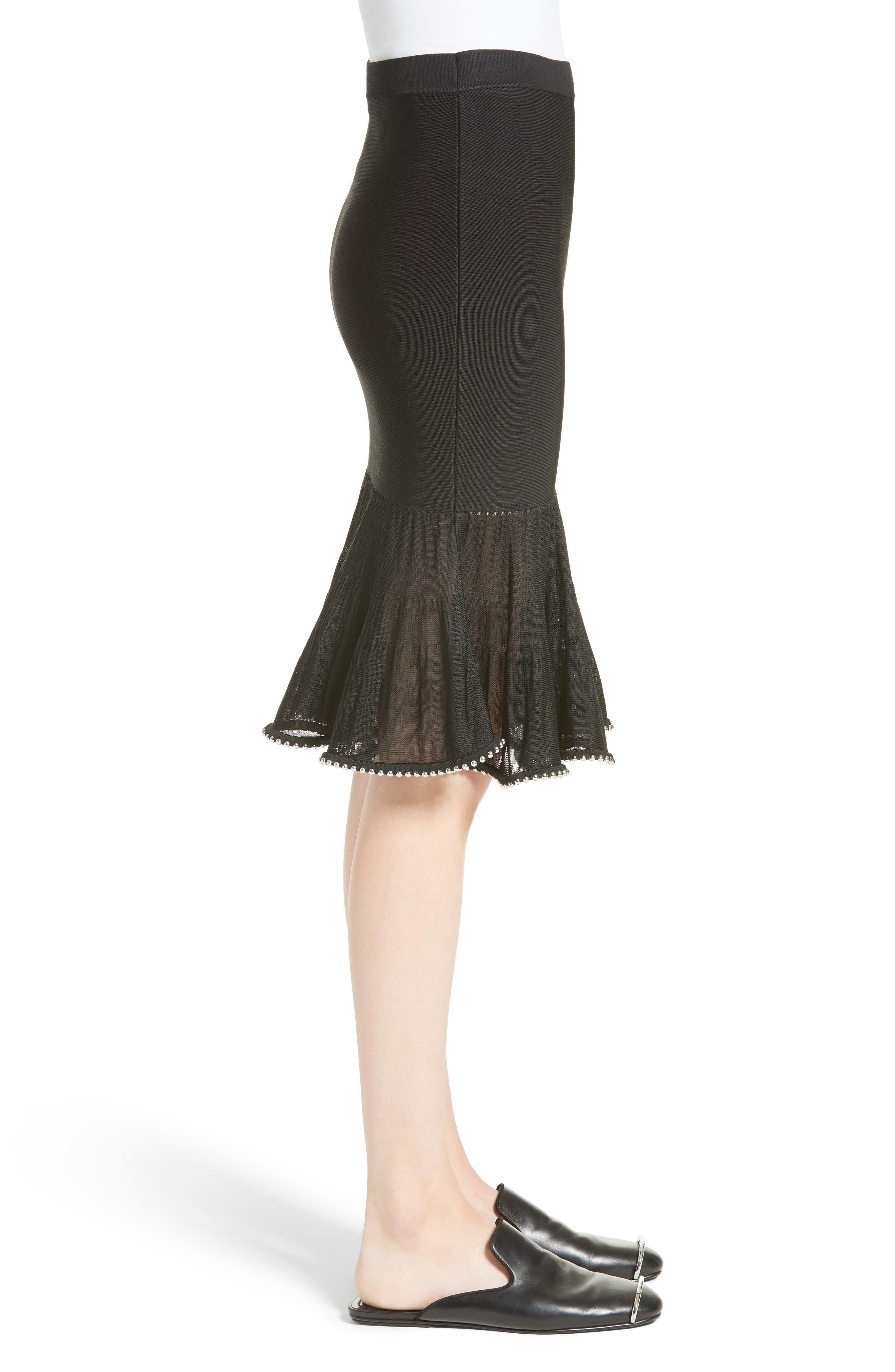 Chain Trim Ruffle Knit Skirt,                             Alternate thumbnail 5, color,                             Black